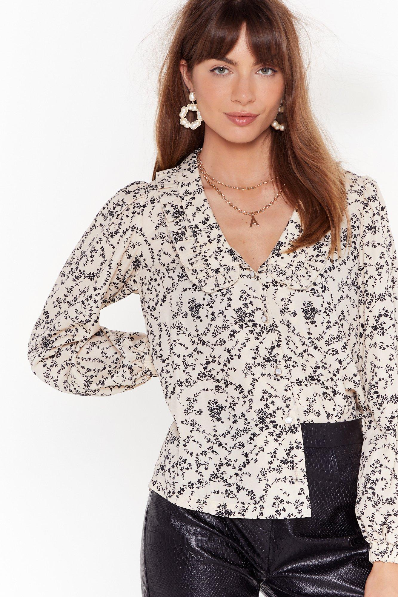 Image of Are You Frill Here Floral Button-Down Blouse