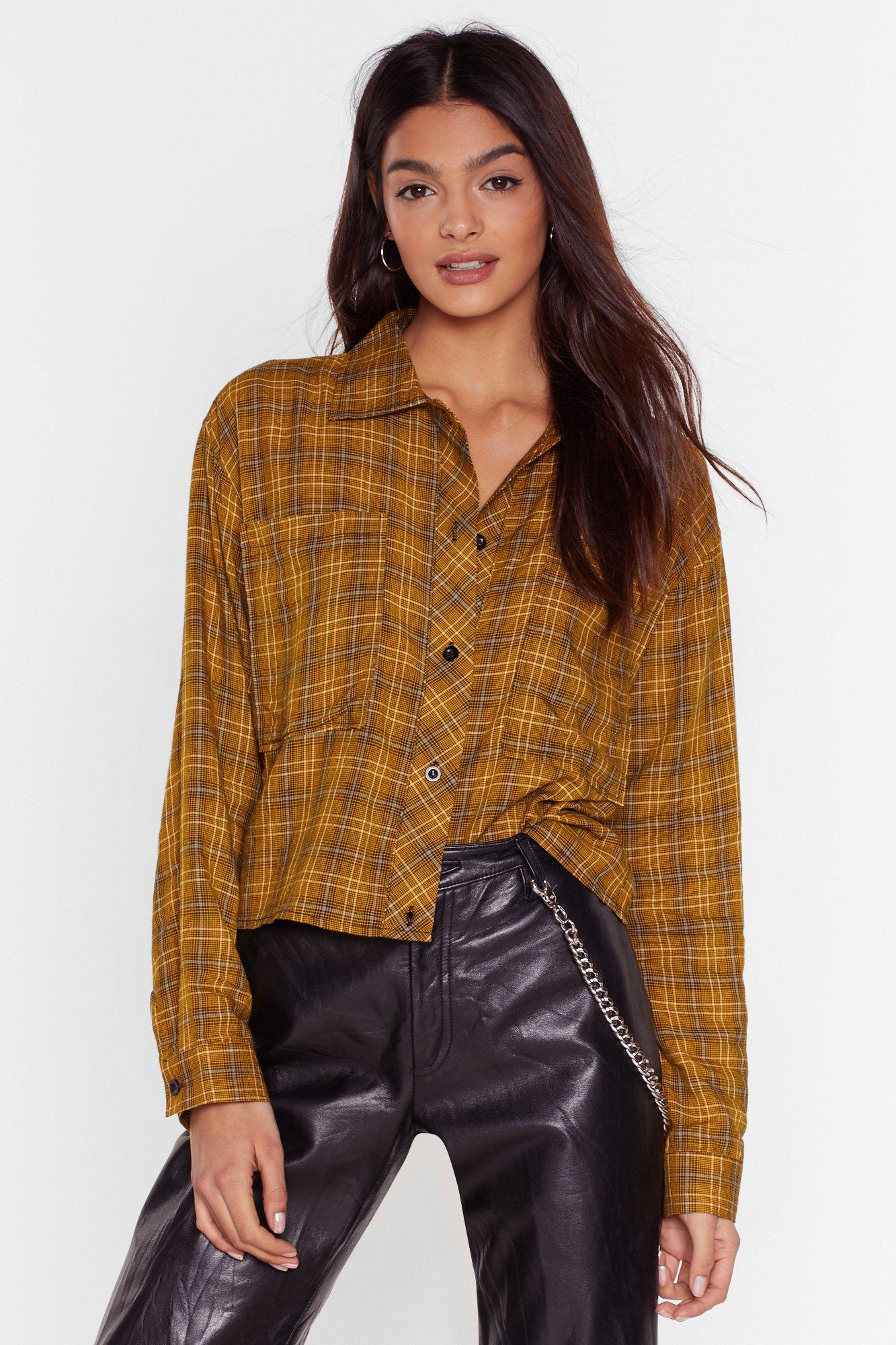 Image of Checked Crop Shirt