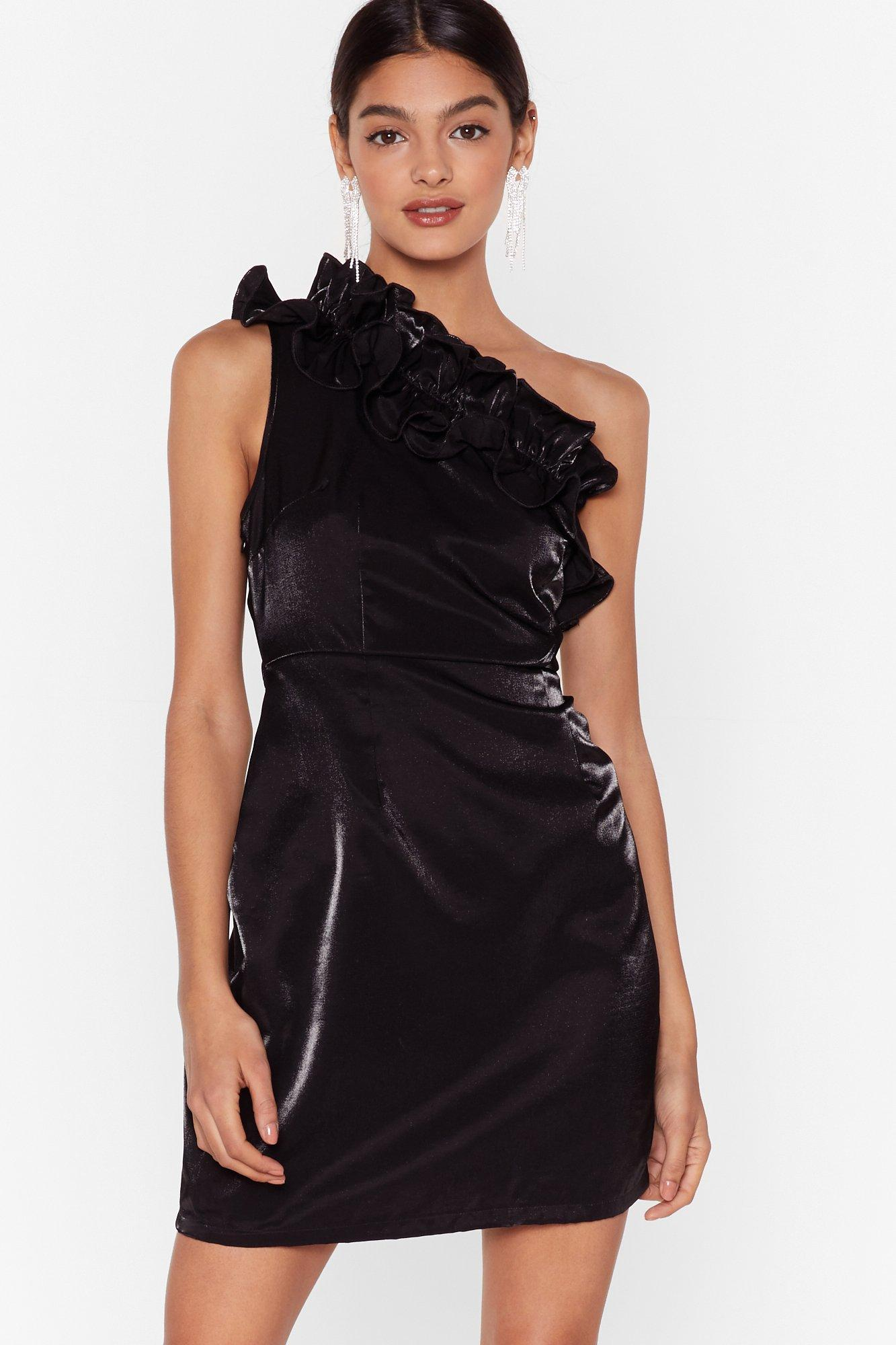 Image of One On One Shoulder Ruffle Mini Dress