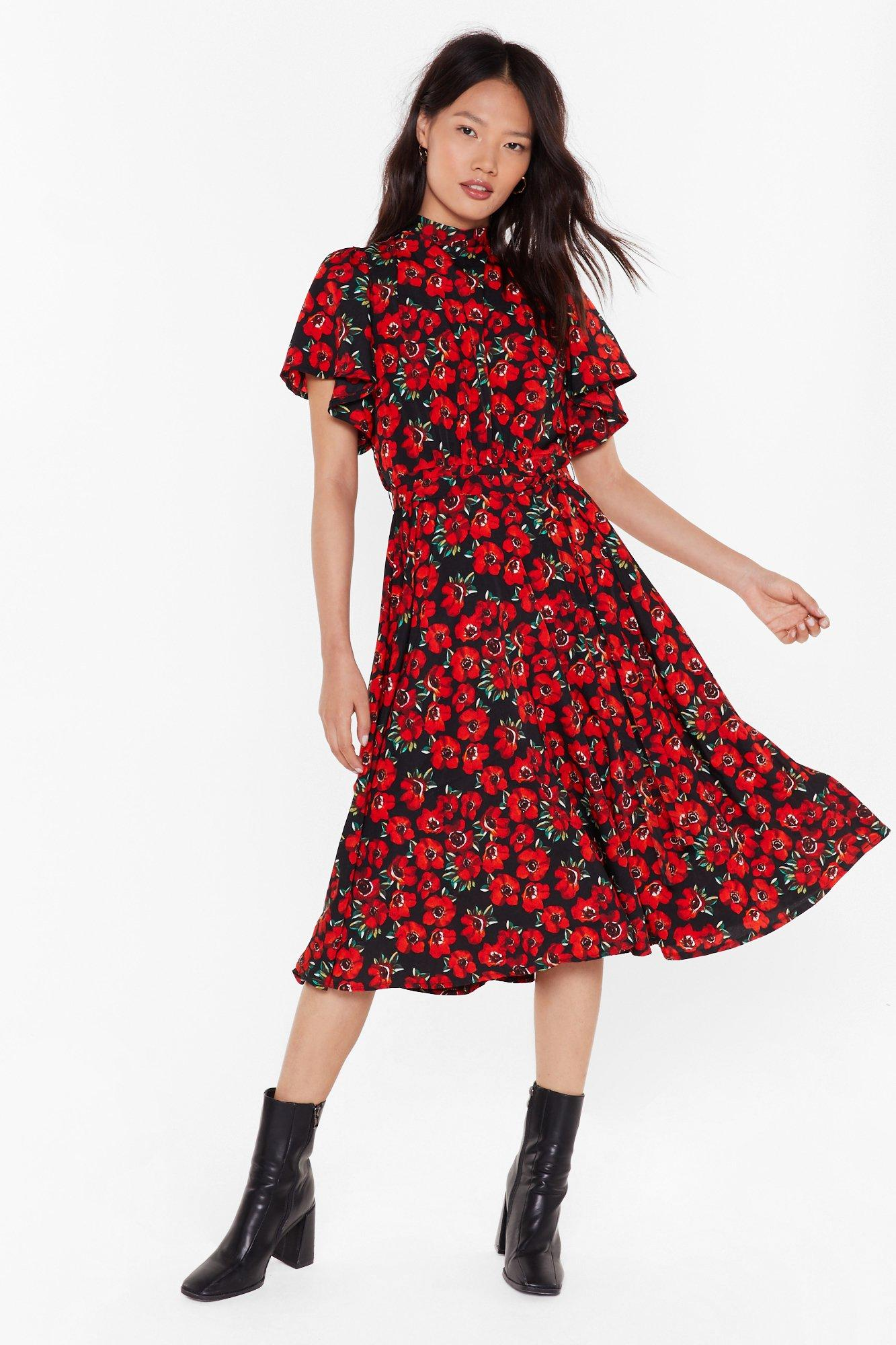 Image of Field of Dreams Floral Midi Dress