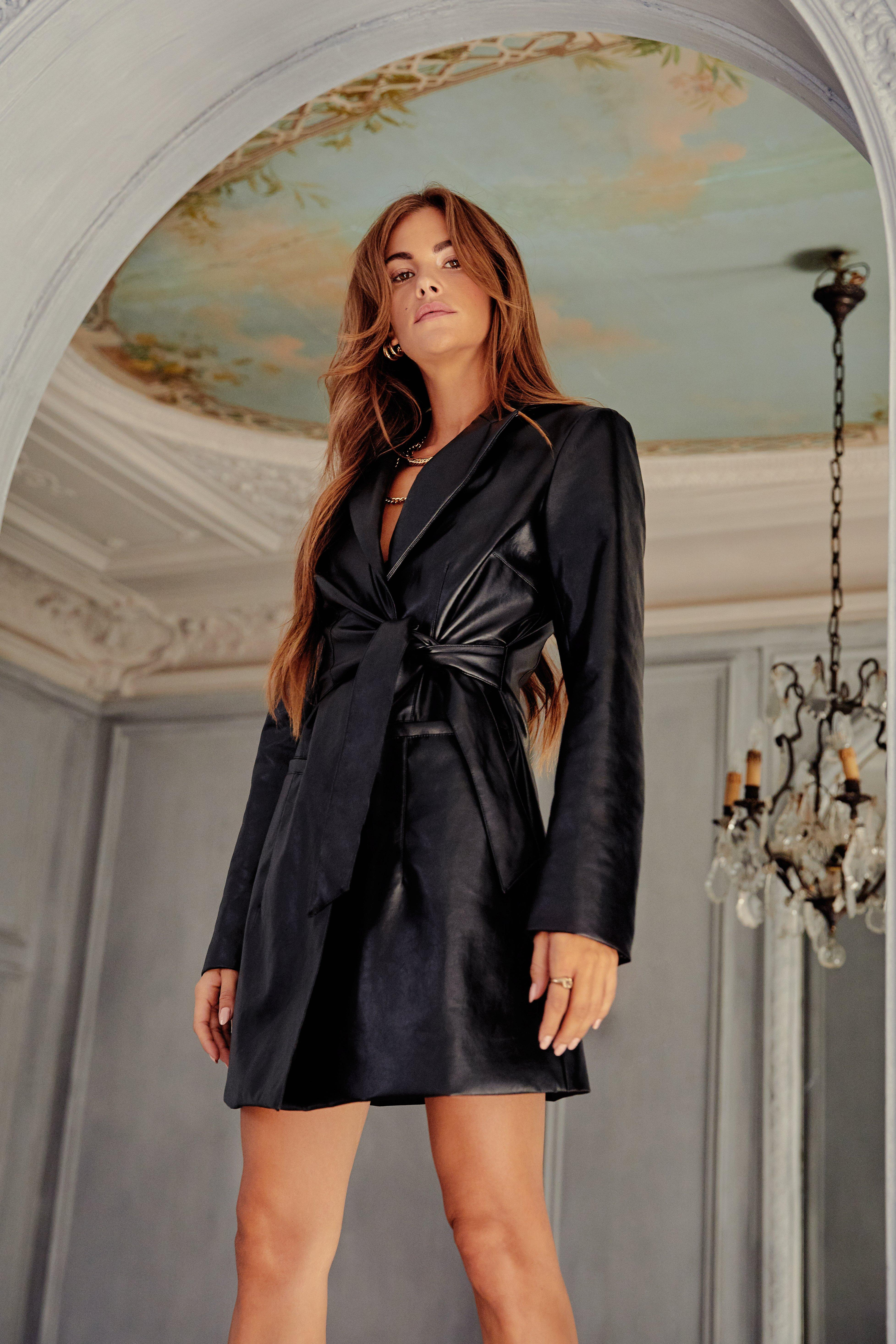 Image of Faux Leather Tie Me Down Blazer Dress