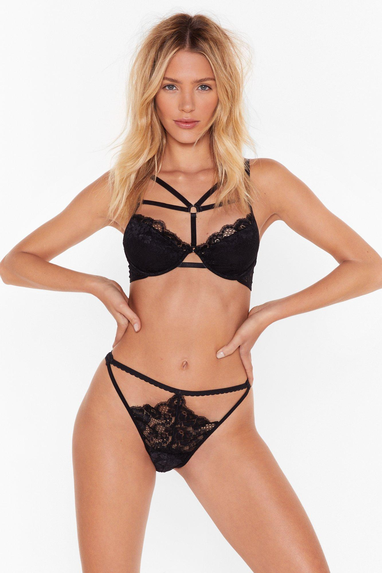 Image of O-Ring on the Night Lace Bralette and Panty Set