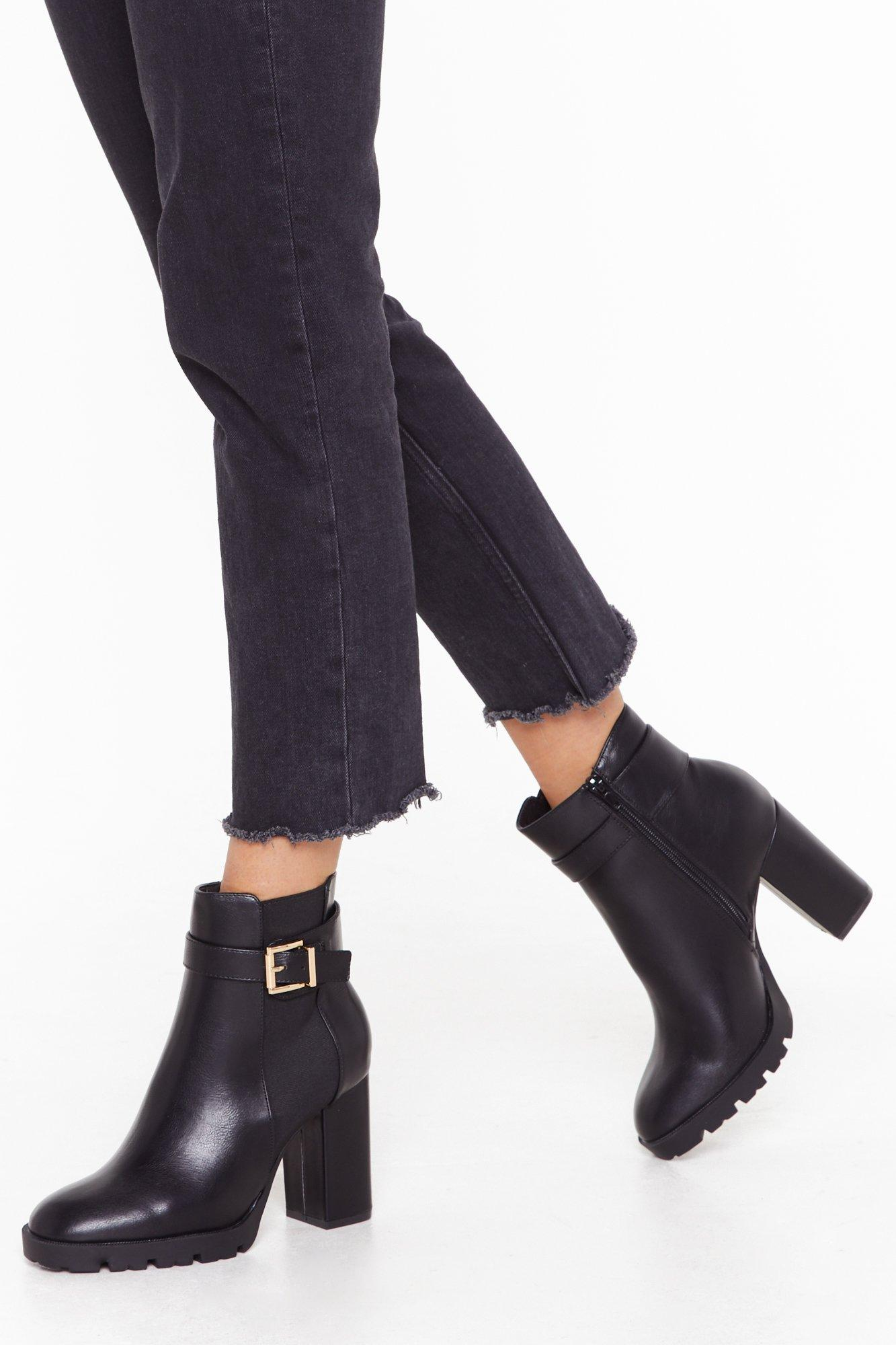 Image of Get My Good Side Wide Fit Heeled Boots