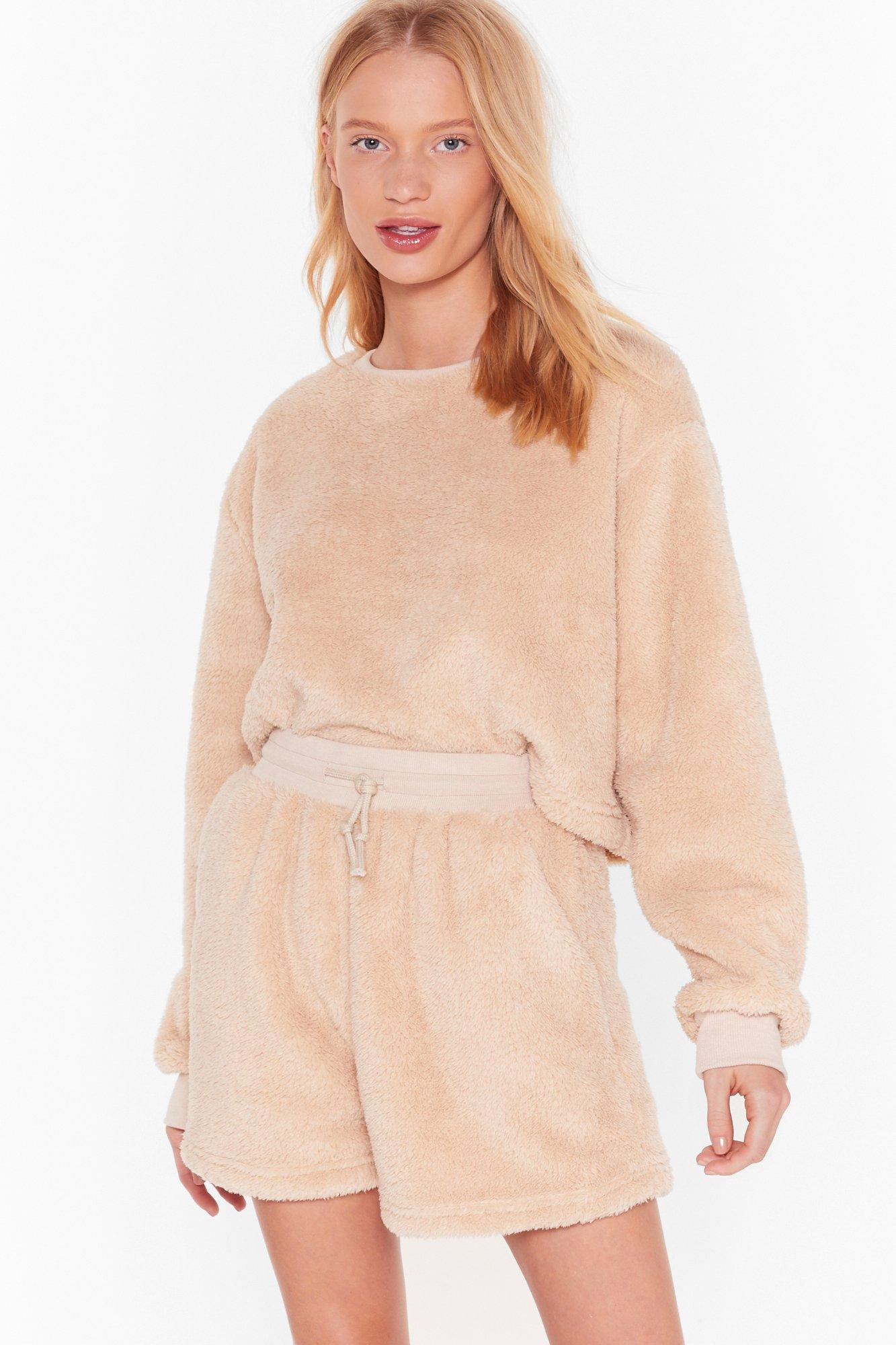 Image of Teddy For Bed Sweater and Shorts Lounge Set