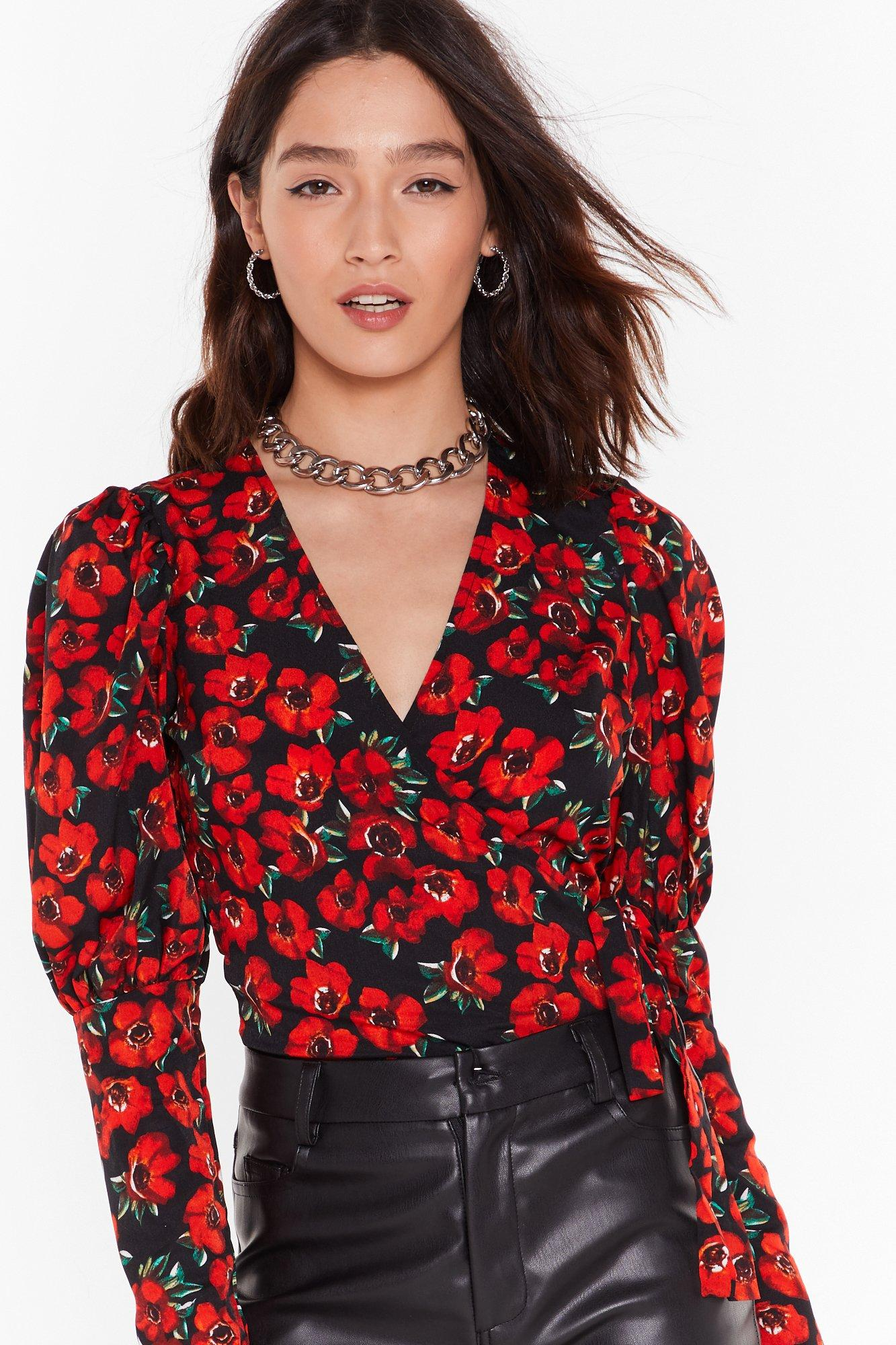 Image of Plant Lose You Floral Puff Sleeve Blouse