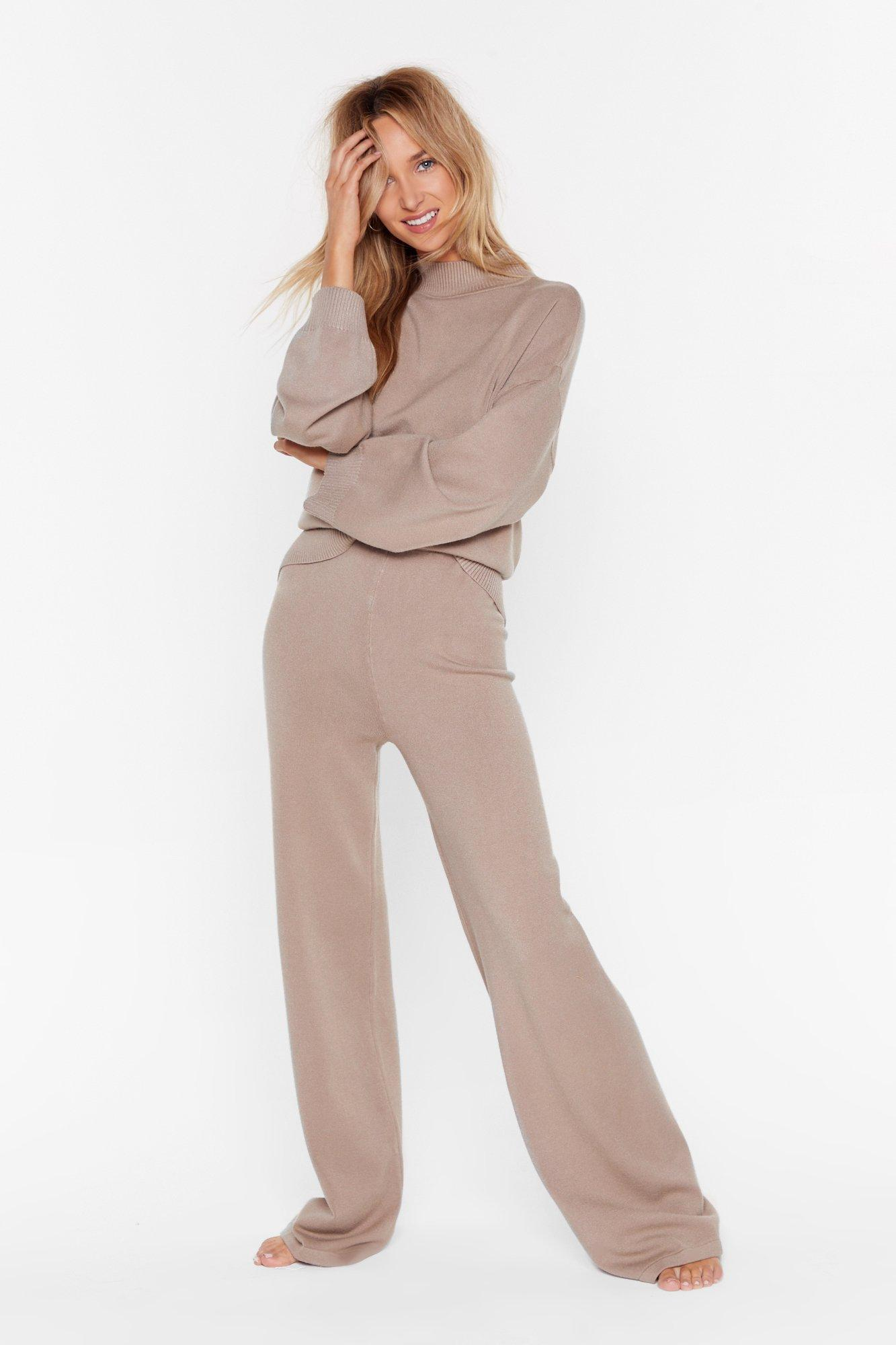 Image of Knit's Going Down Wide-Leg Pants Lounge Set