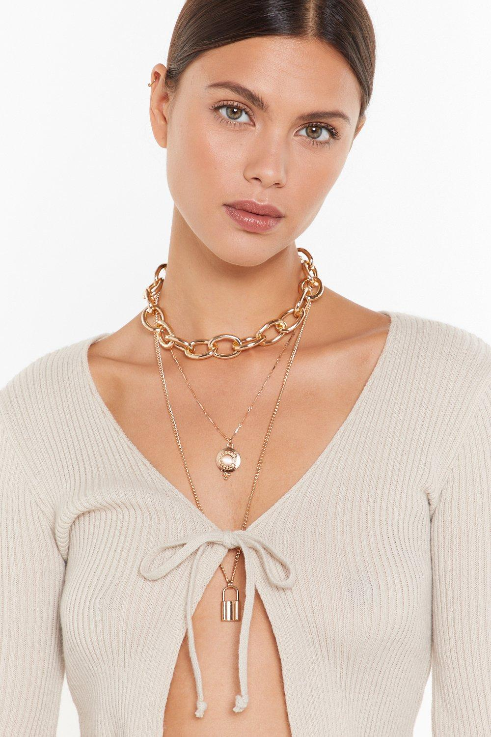 Image of Our Heart's On Lock Pendant Layered Necklace