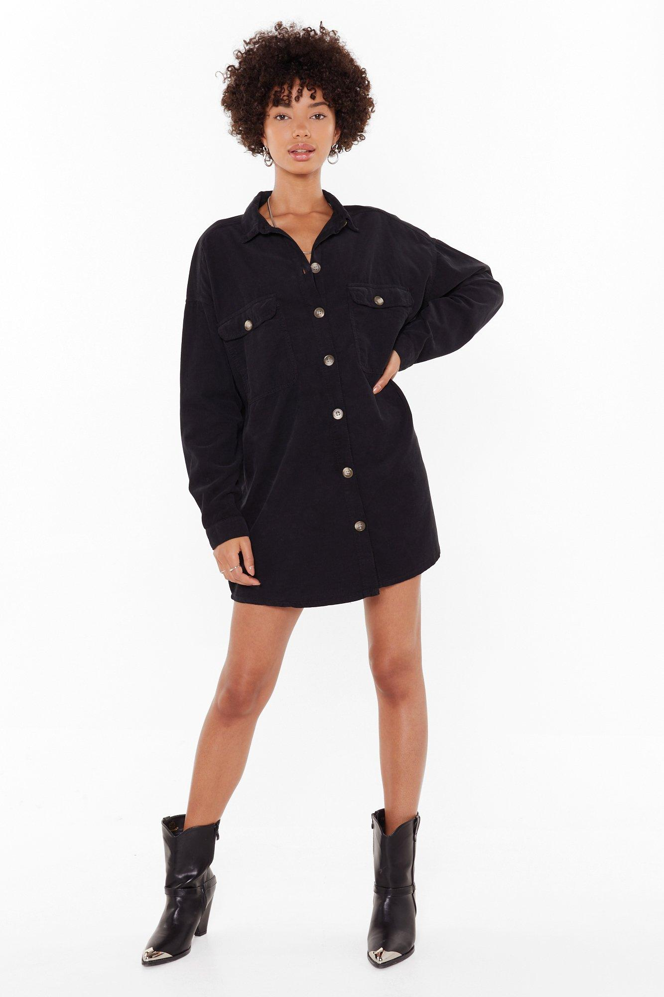 Image of When the Record-uroy's Oversized Shirt Dress