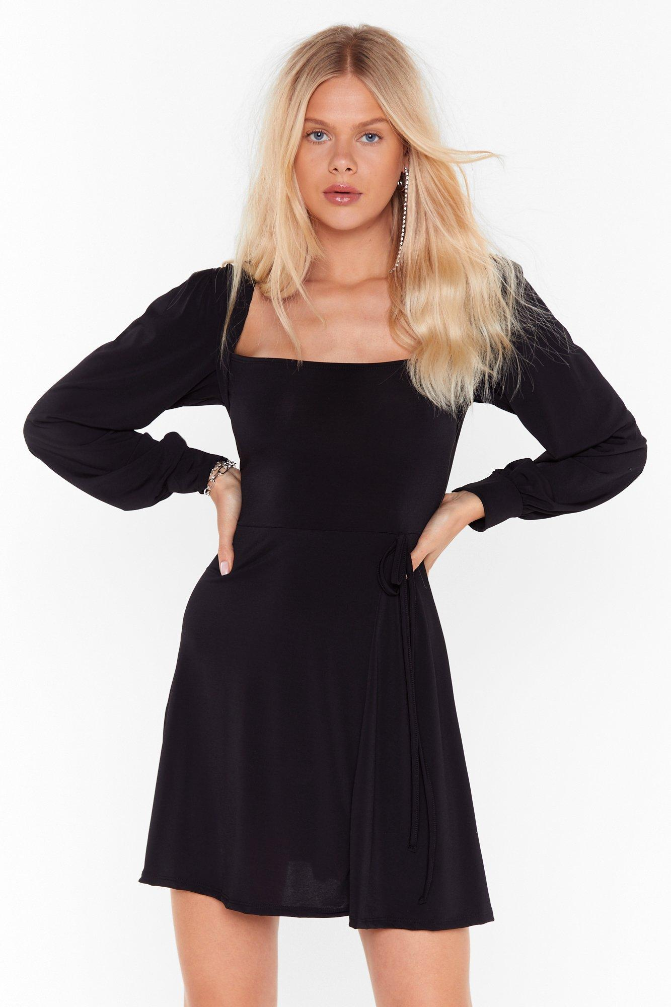 Image of I Won't Square You Puff Sleeve Mini Dress