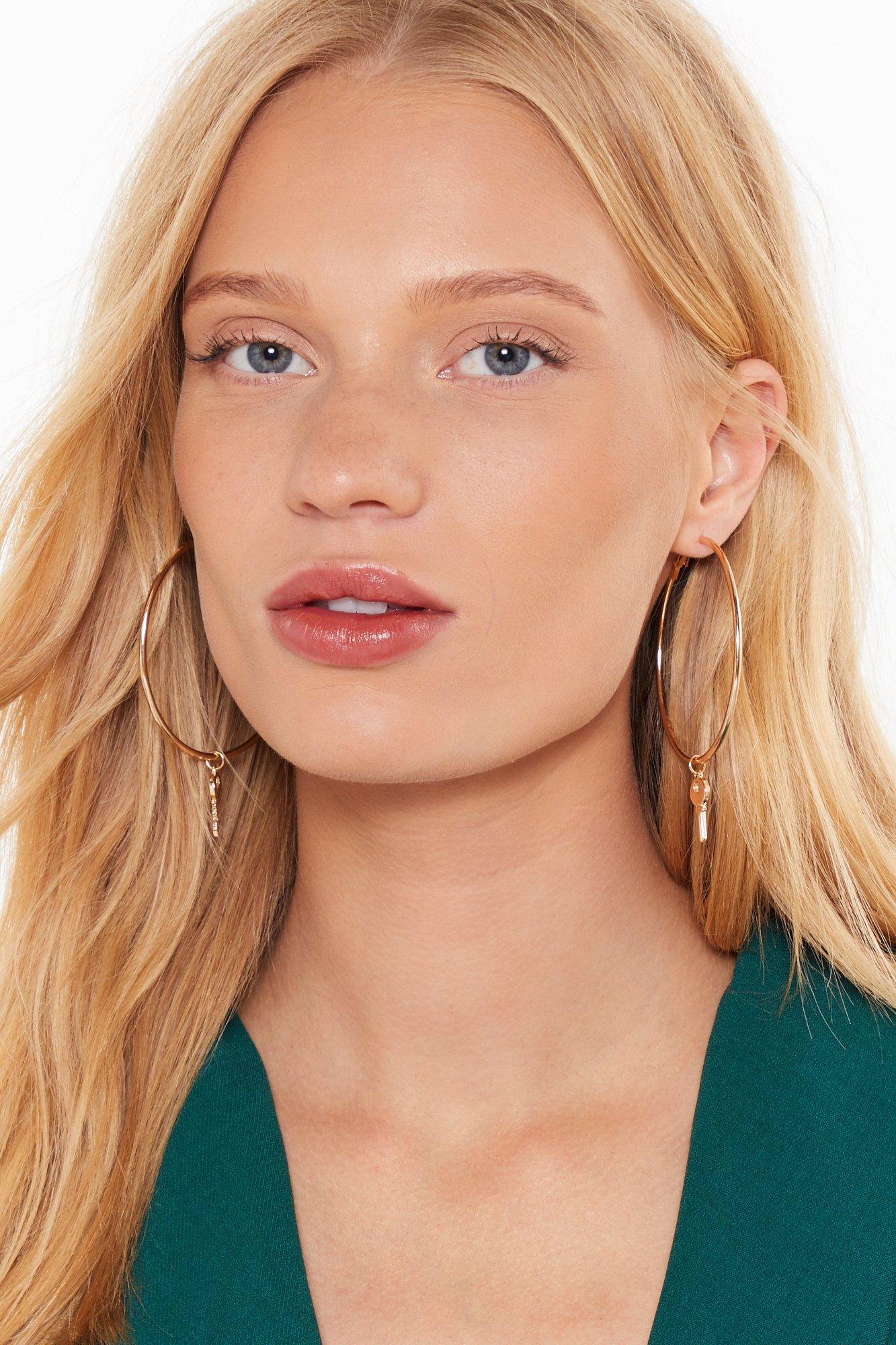 Image of Just My Lock Double Hoop Earrings