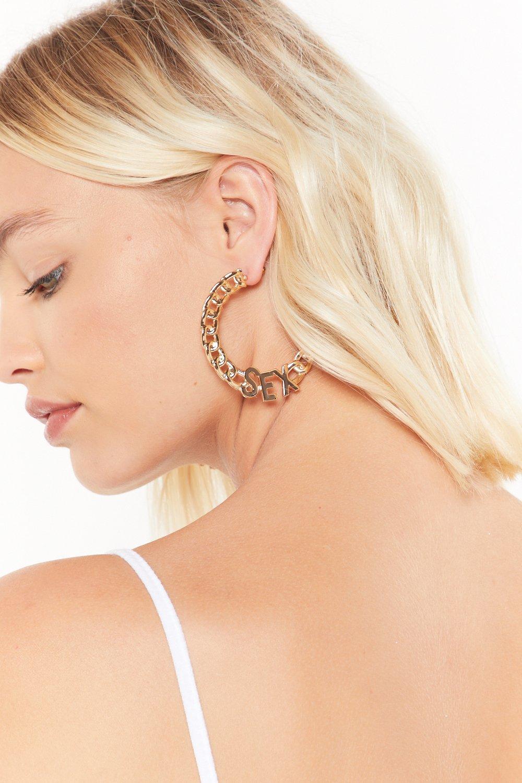 Image of I Just Had Sex Chain Hoop Earrings