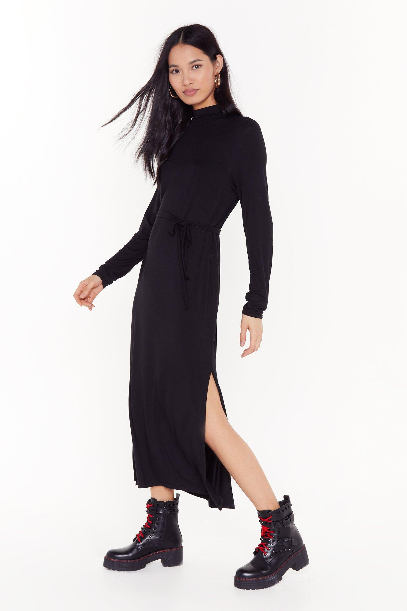 Image of Tie and Stop Me Belted Midi Dress