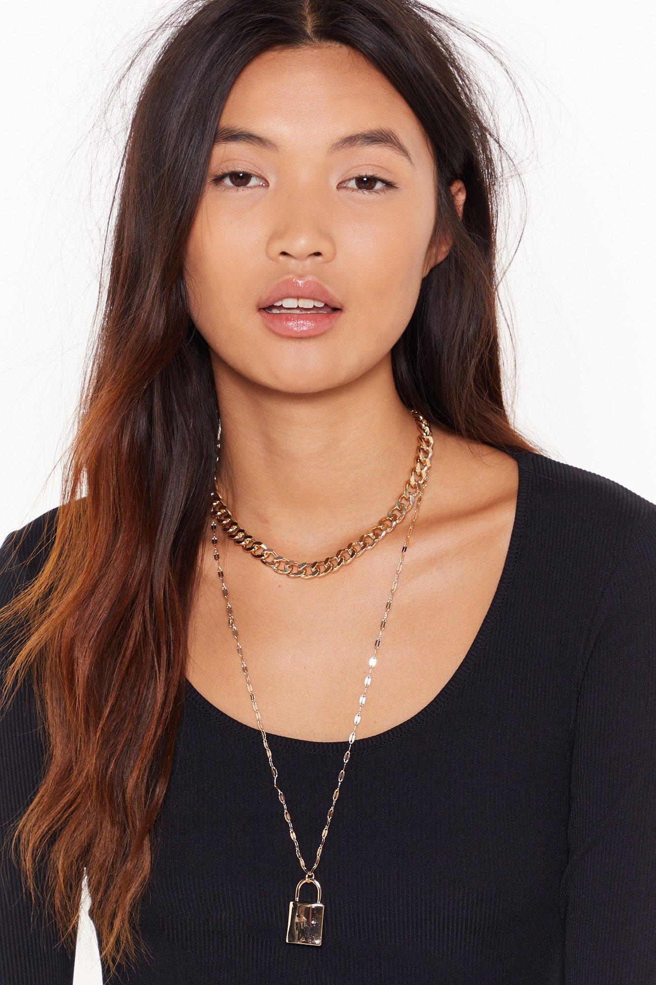 Image of Lock at Her Go Layered Pendant Necklace