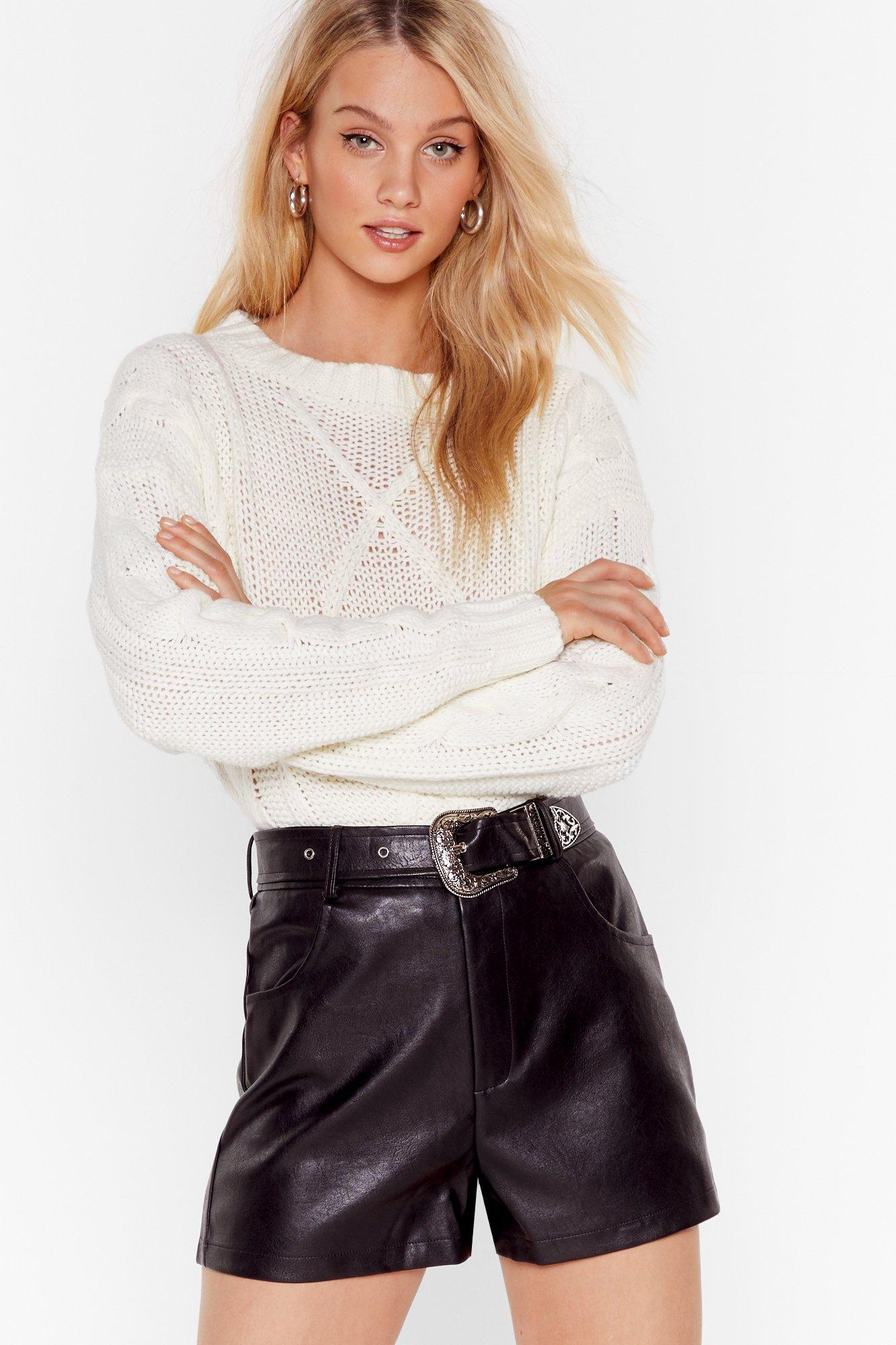 Image of Leather and Lace Western Belted Faux Leather Shorts