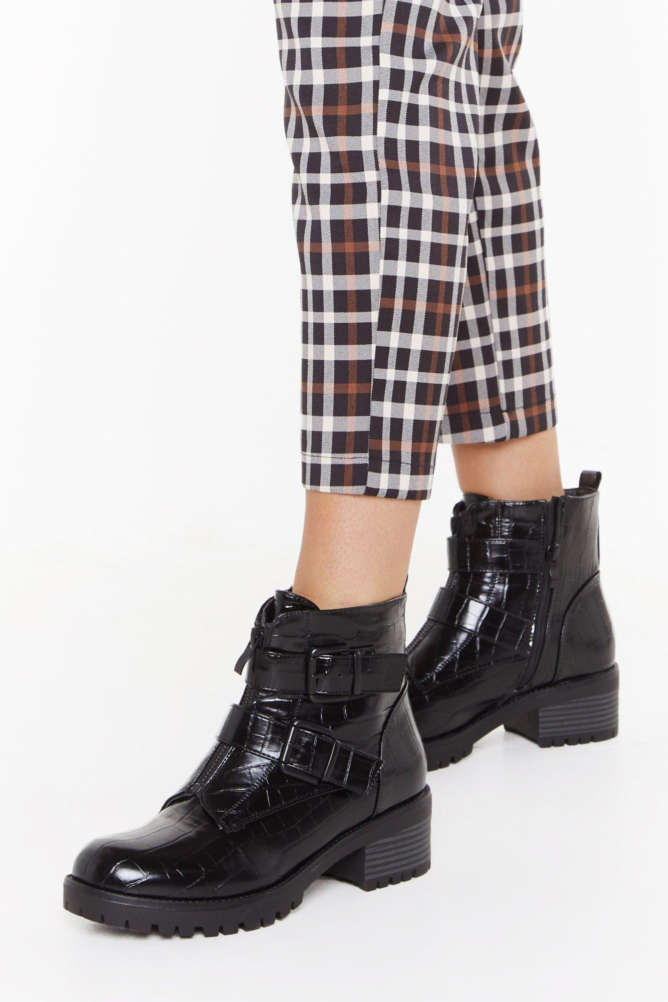 Image of Croc to Go Faux Leather Biker Boots