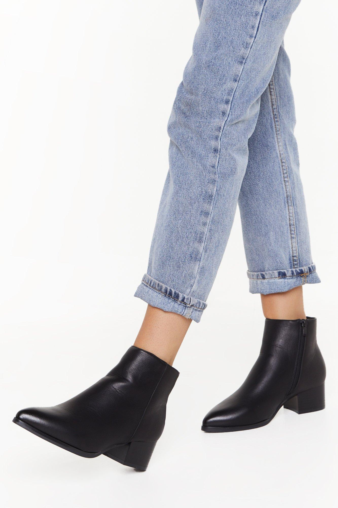 Image of Pointed Mid Block Heel Ankle Boots