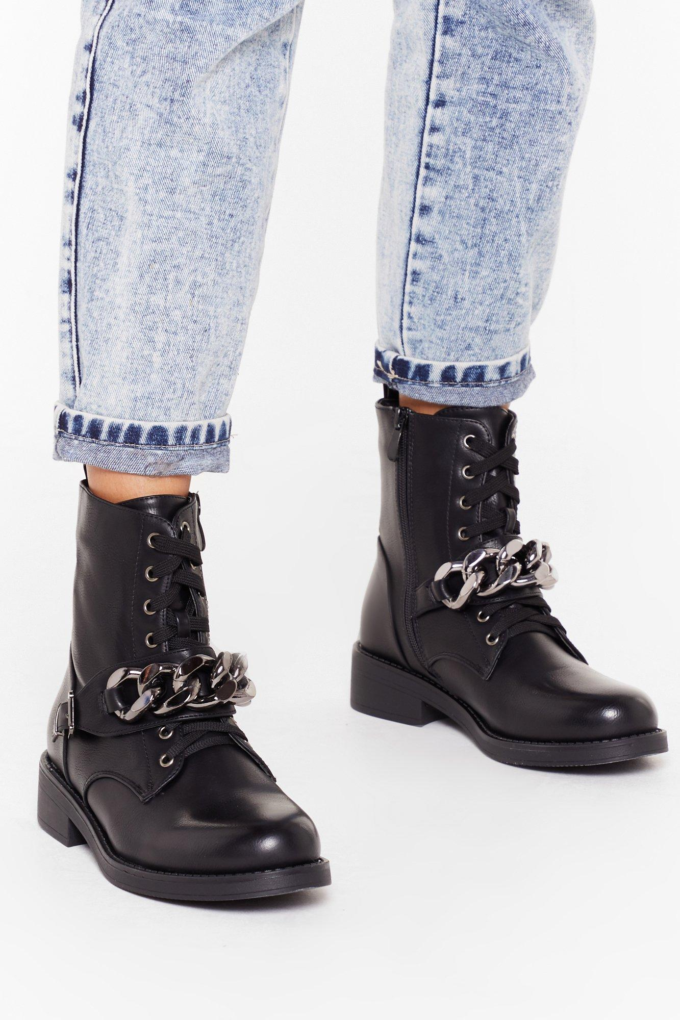 Image of Chain of My Life Faux Leather Biker Boots