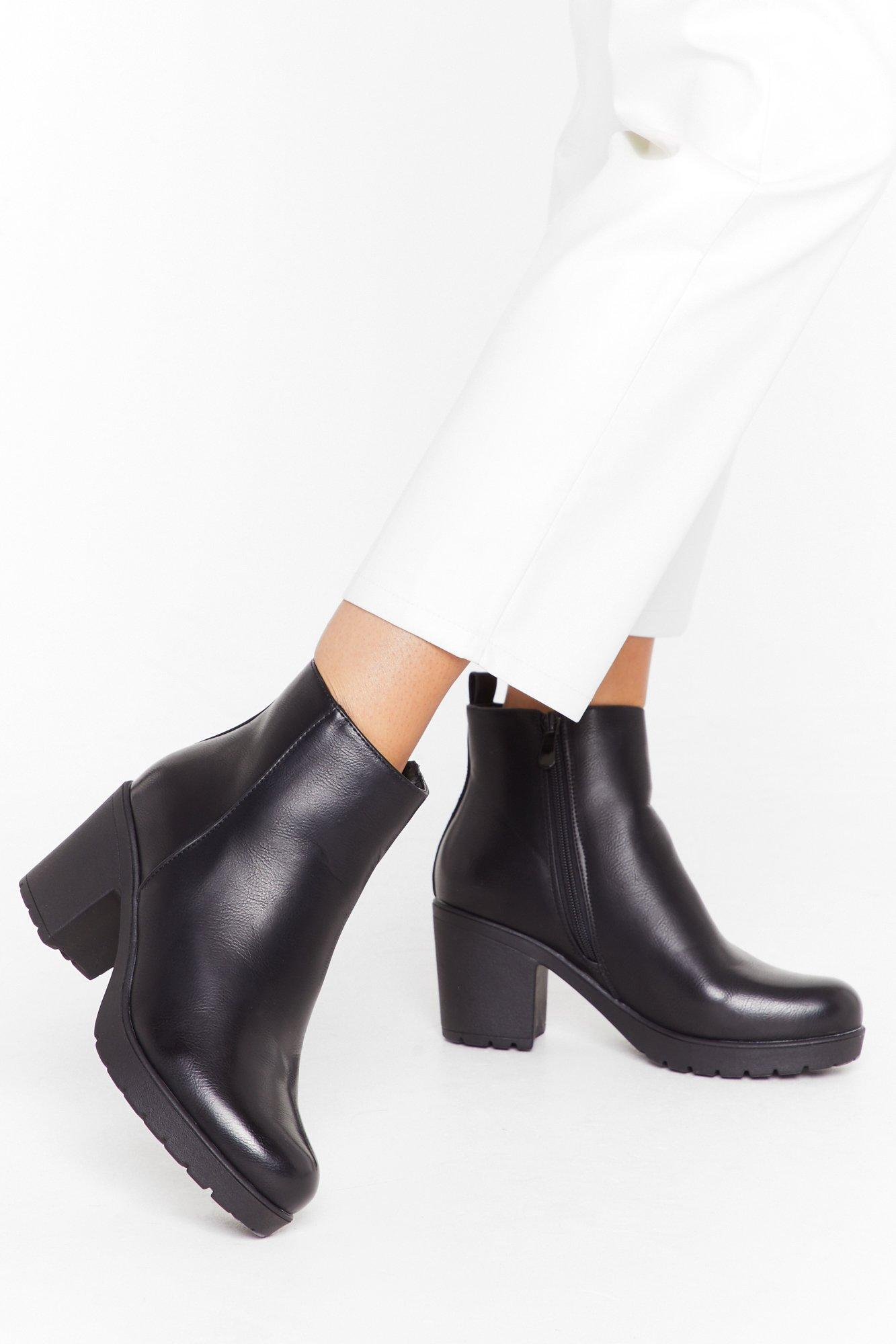 Image of Walk the Walk Faux Leather Block Heel Boots