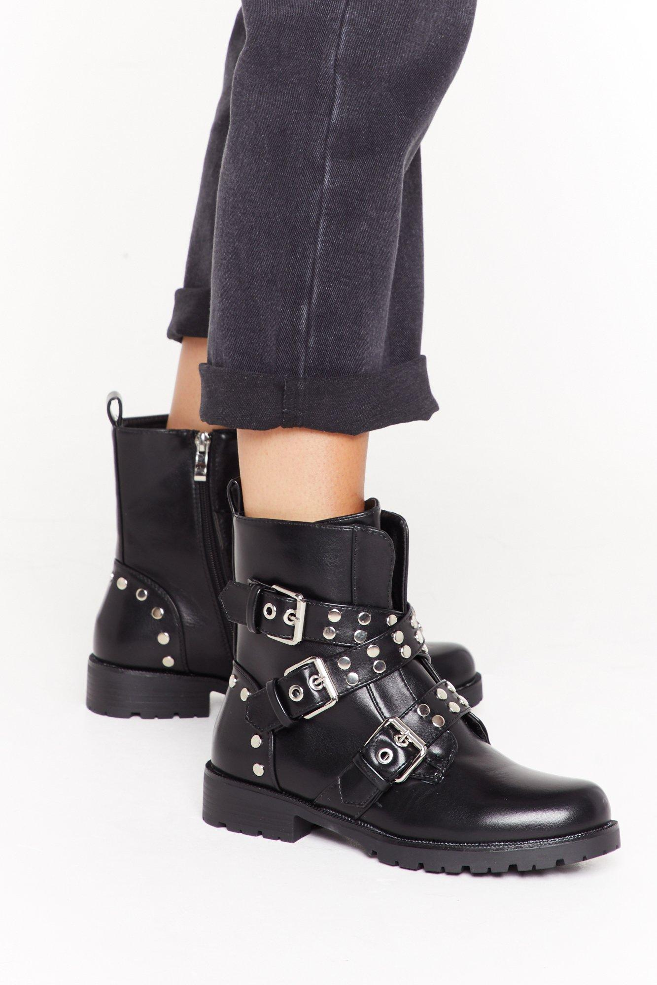 Image of Stud For You Faux Leather Buckle Boots