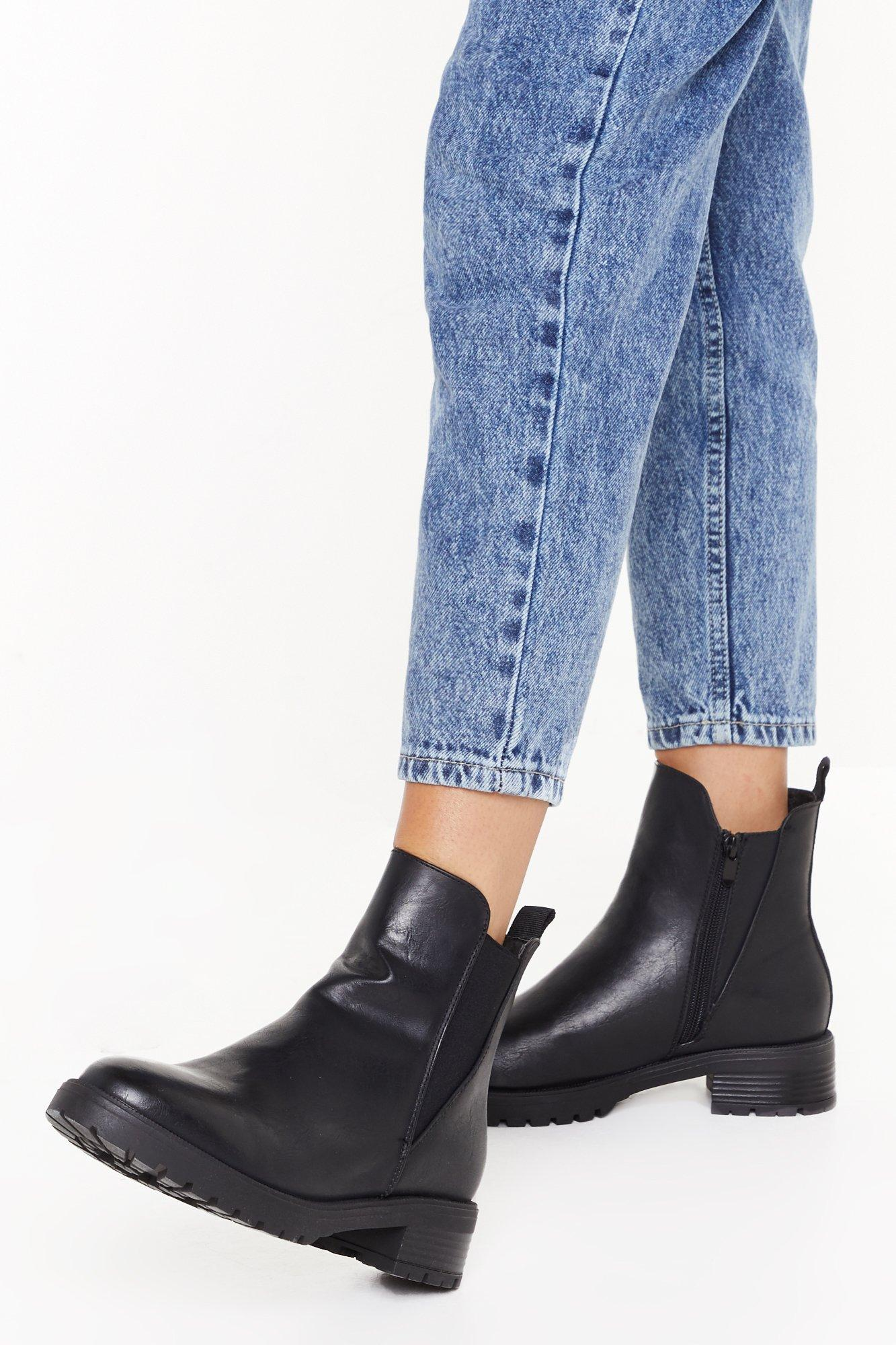 Image of Cleated pu v gusset chelsea boots
