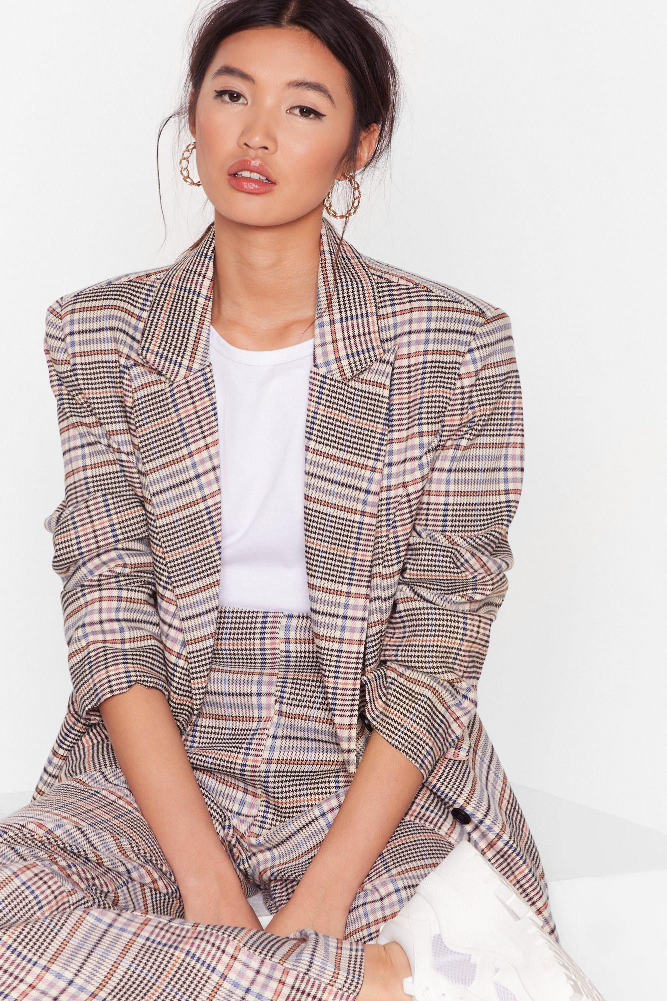 Image of Check Please Double Breasted Longline Blazer