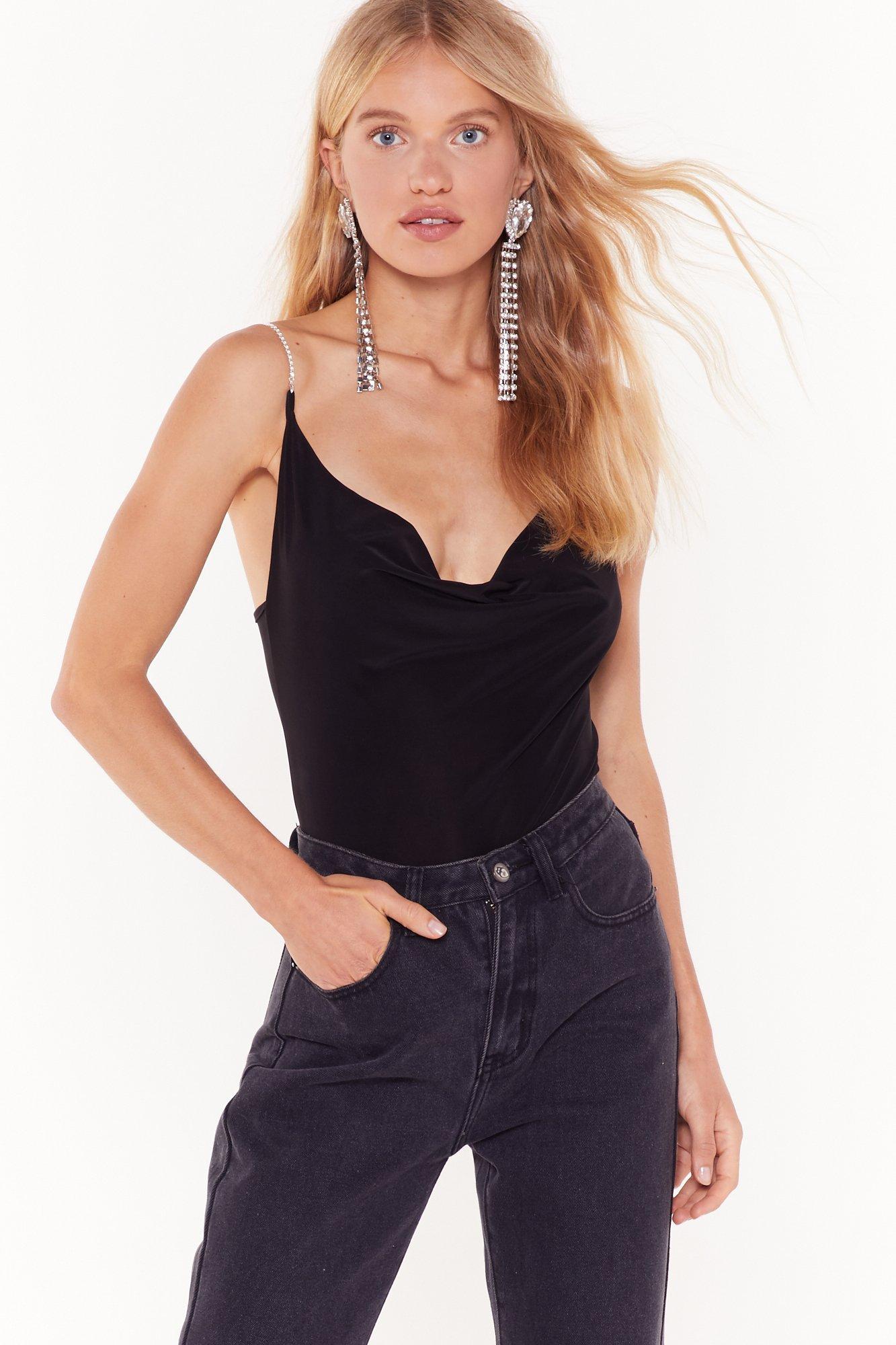 Image of Cowl Deep Is Your Love Slinky Diamante Bodysuit