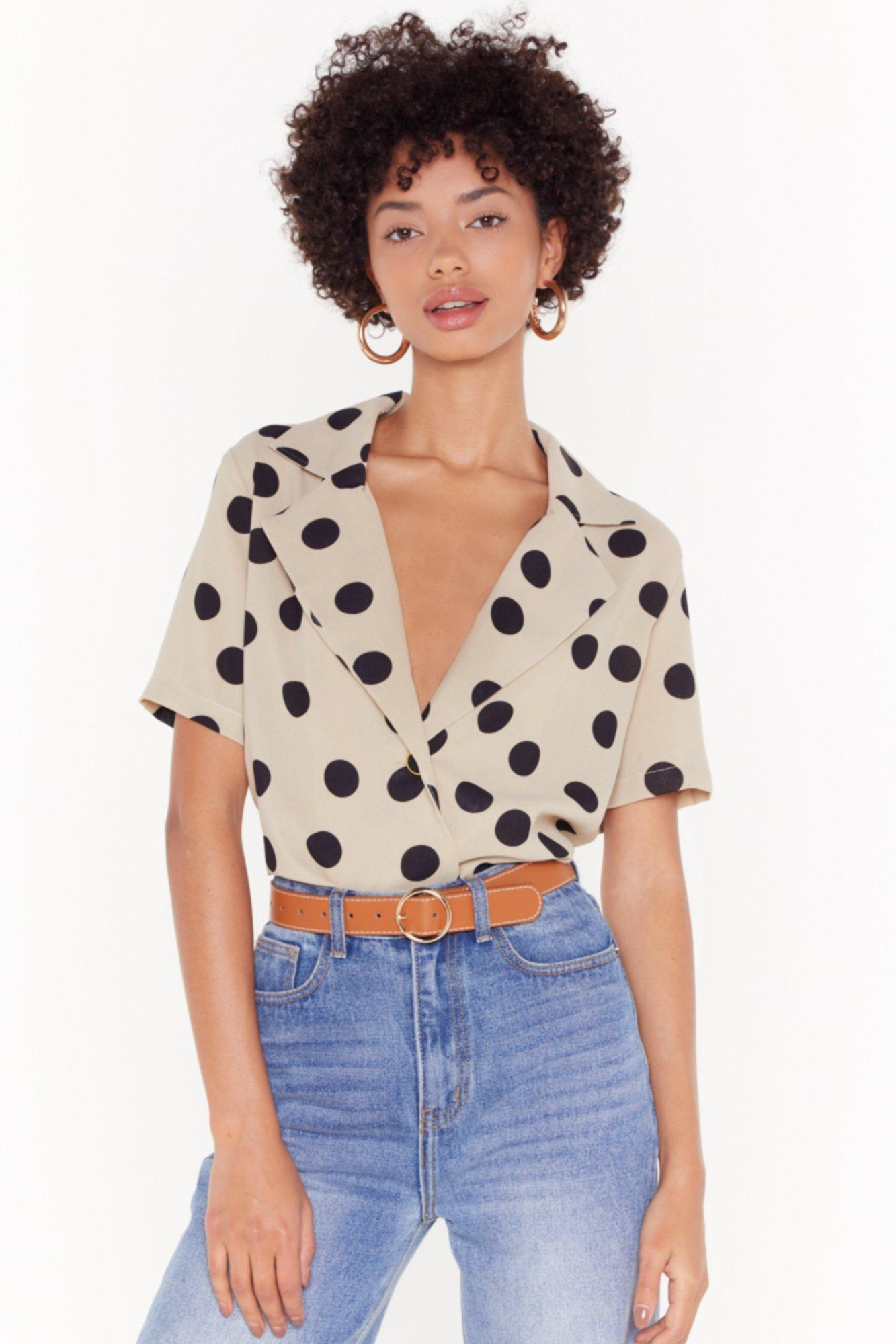 Image of One More Button Hurt Polka Dot Blouse