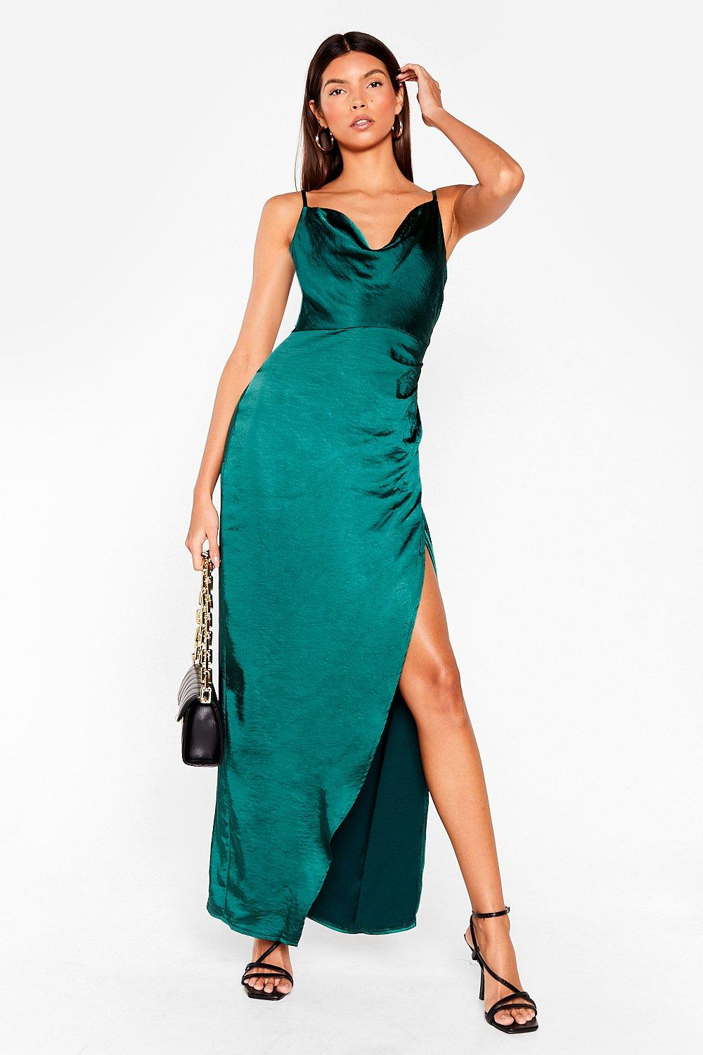 Image of Cowl on Me Satin Maxi Dress