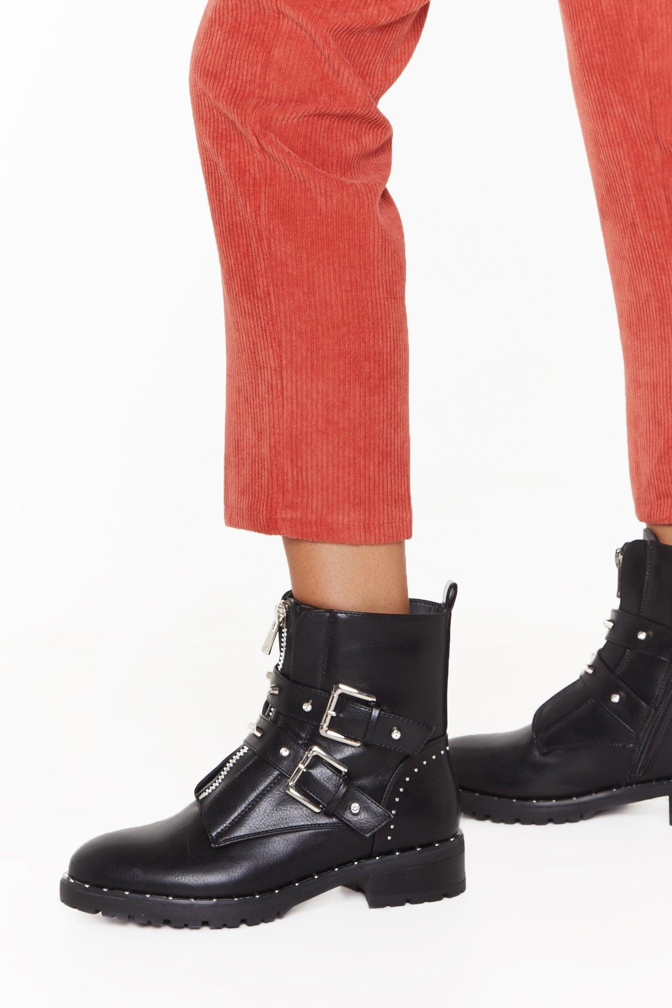 Image of What Stud You Like Faux Leather Biker Boots