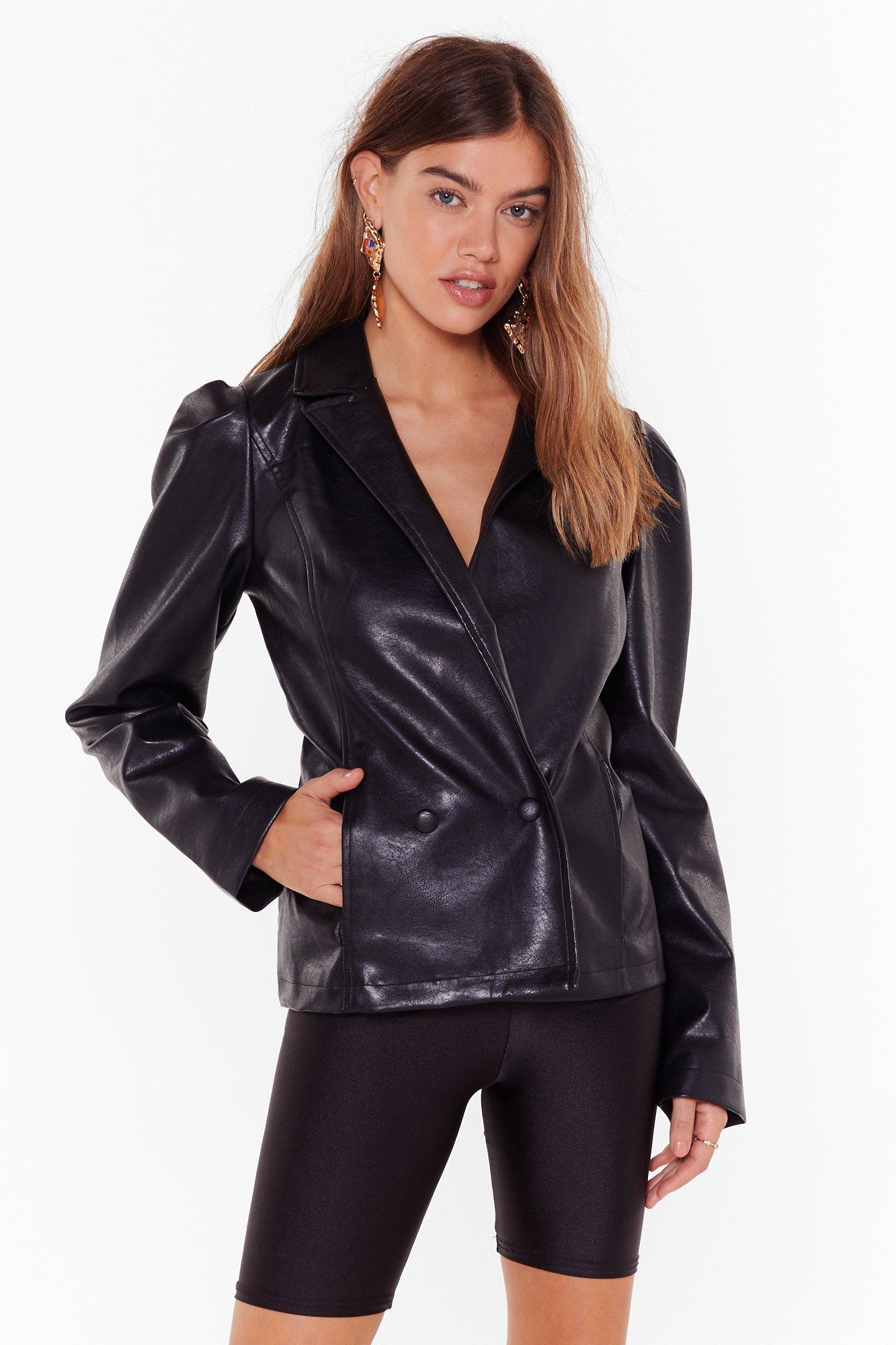 Image of Faux Leather Knew Love Like This Puff Blazer