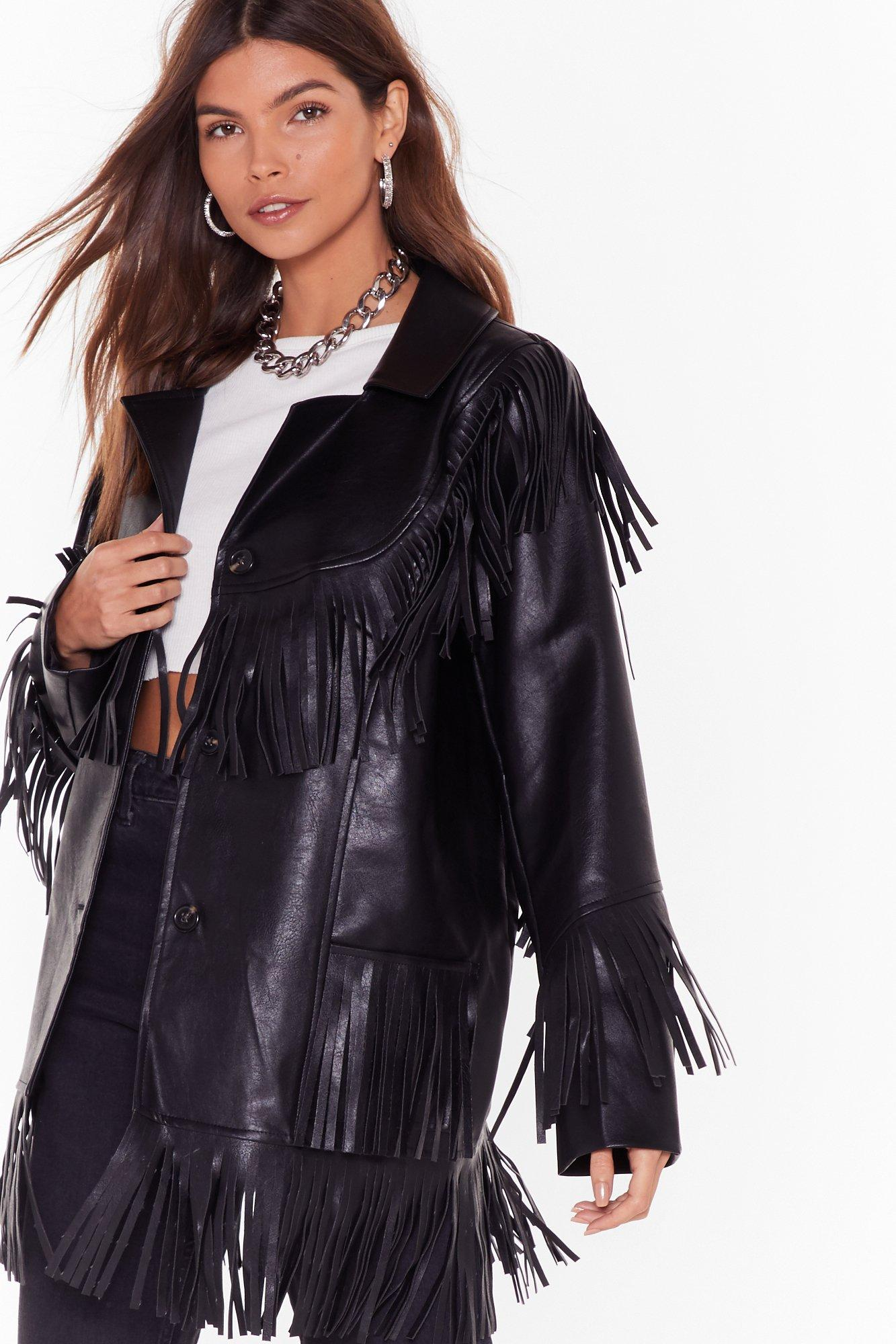 Image of Leather Going Back Fringed Faux Leather Jacket