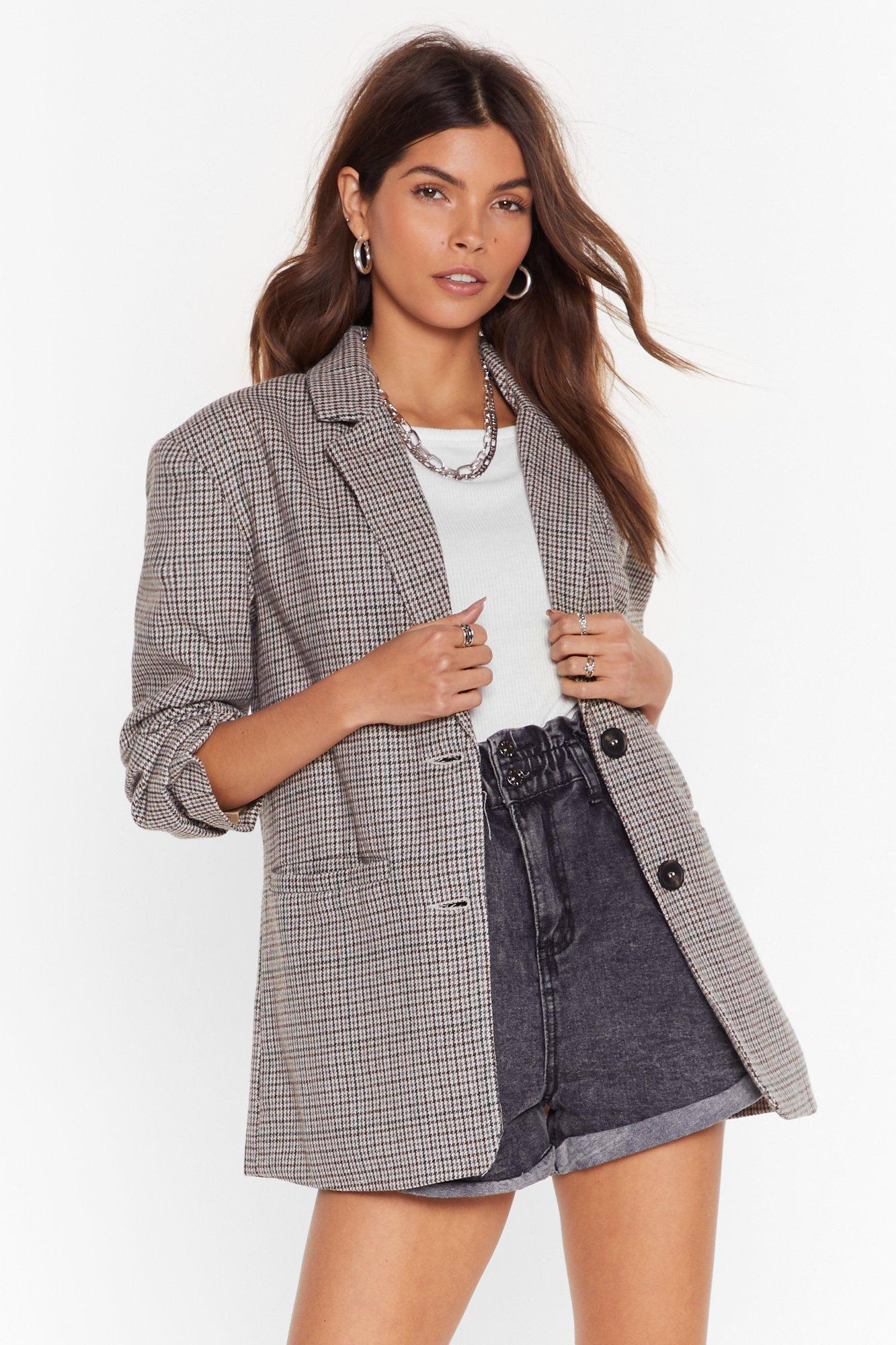 Image of Look What I Houndstooth Oversized Wool Blazer