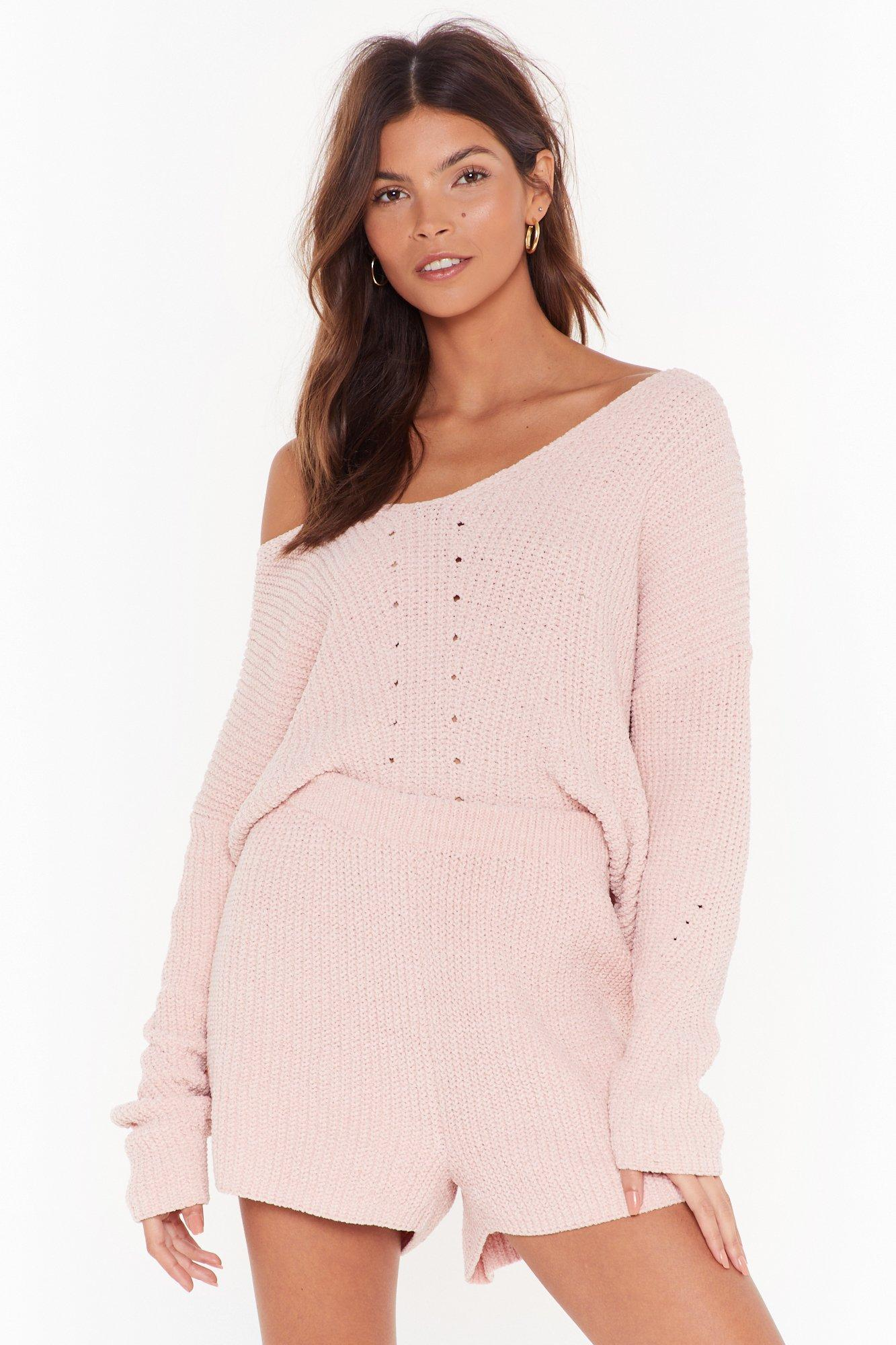 Image of Chenille Out V-Neck Sweater and Shorts Lounge Set