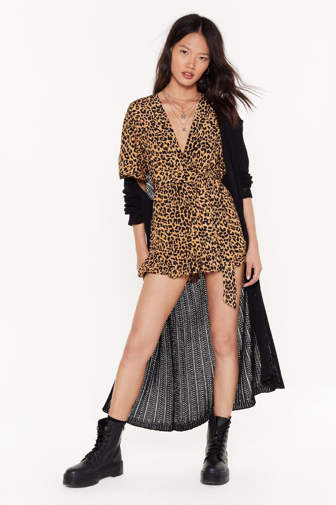 Image of Growl Down Bitches Leopard Relaxed Romper