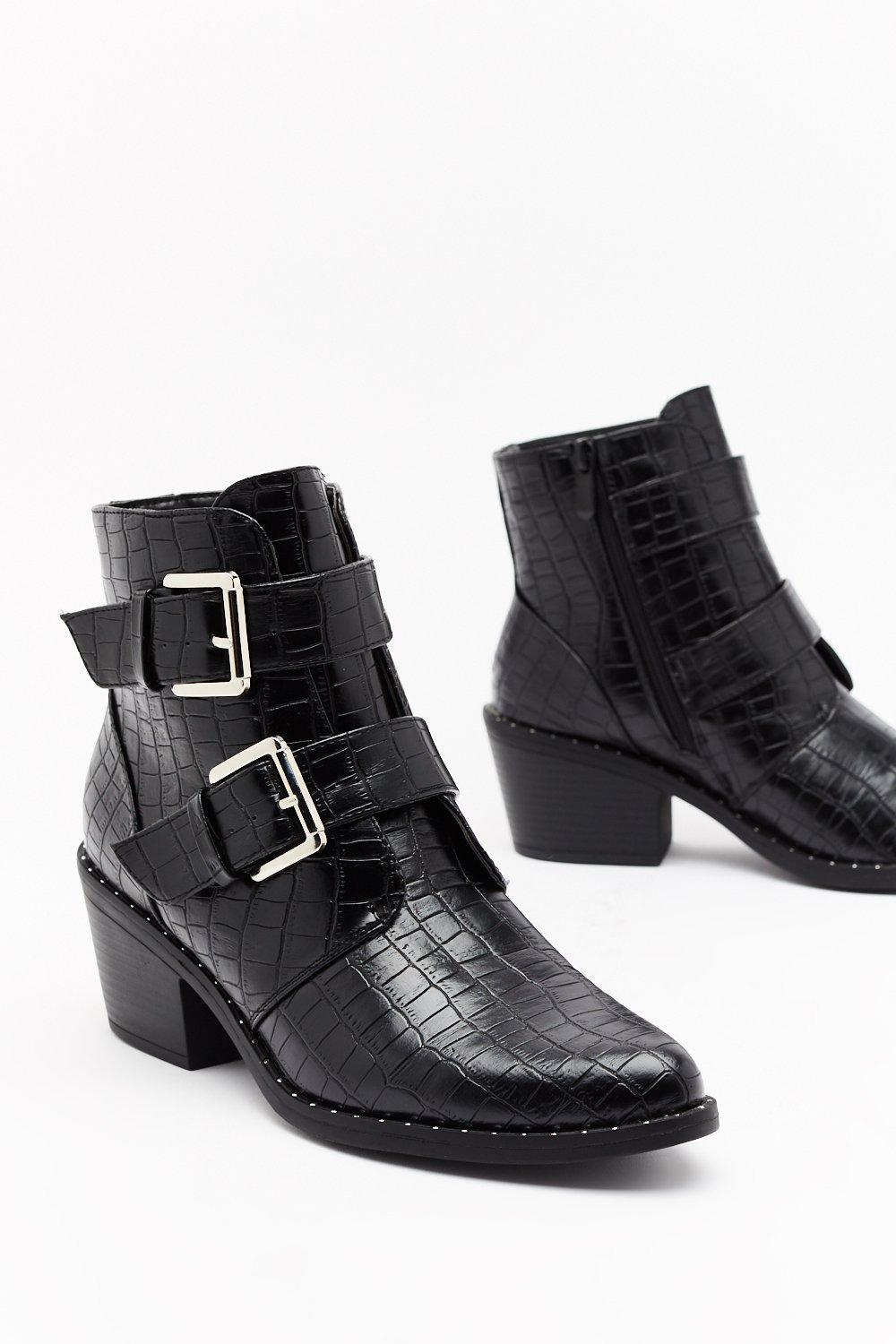 Image of What the Buck-le Faux Leather Croc Boots