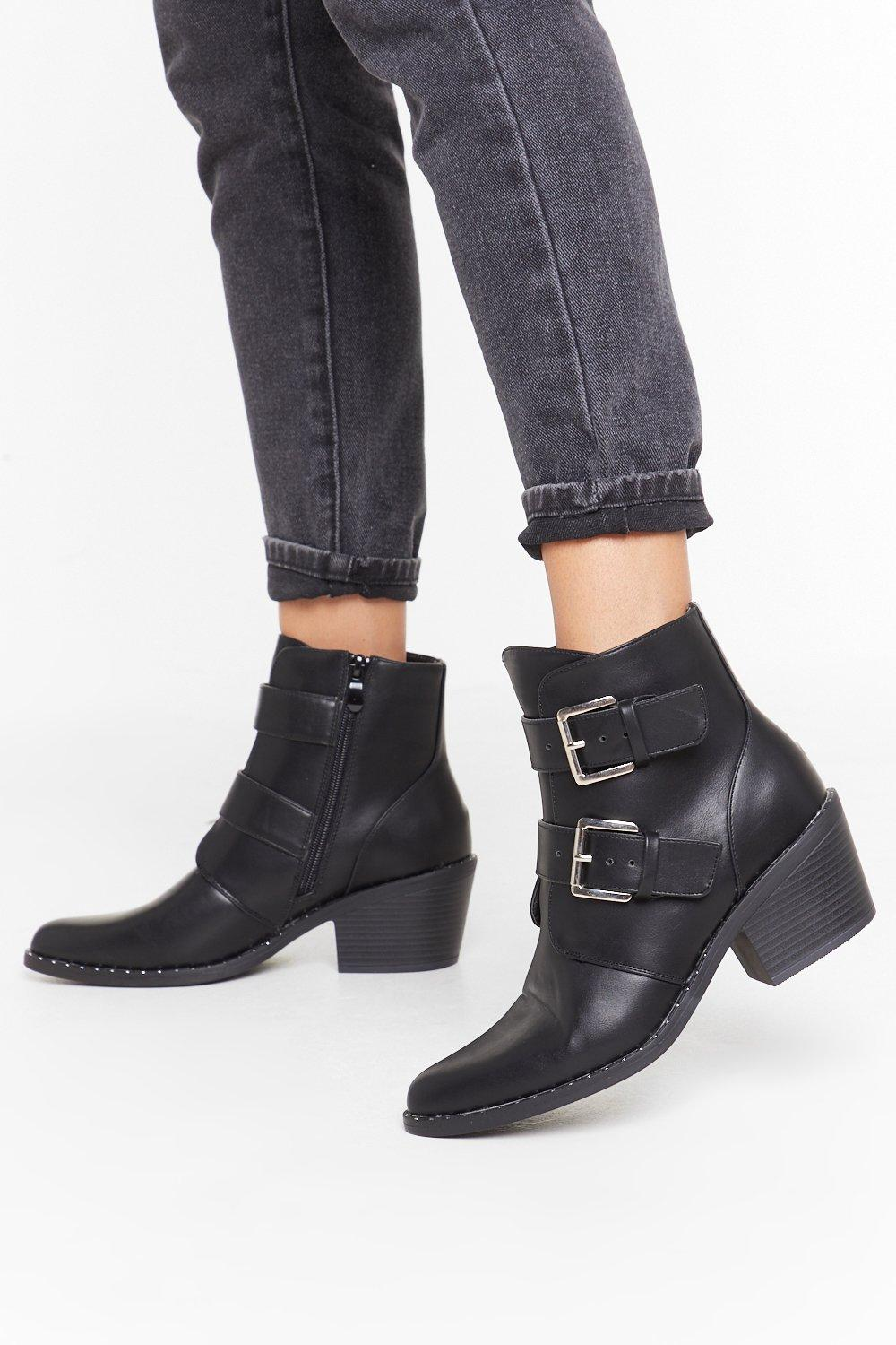 Image of Try Your Buck-le Faux Leather Ankle Boots