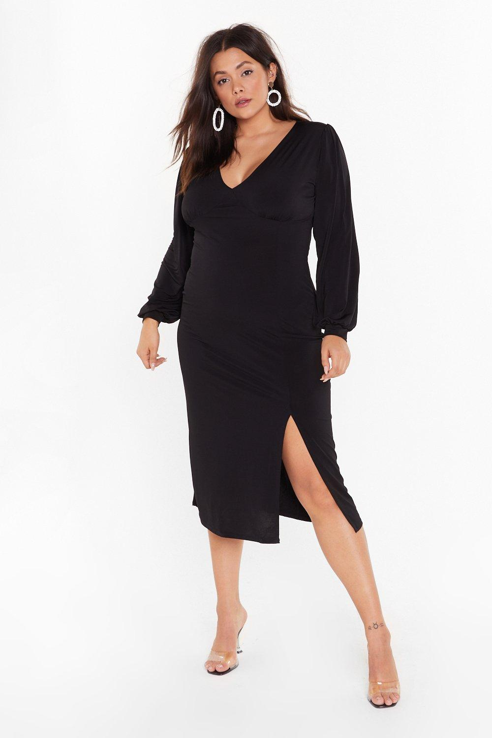 Image of You Can Slit With Us Plus Midi Dress