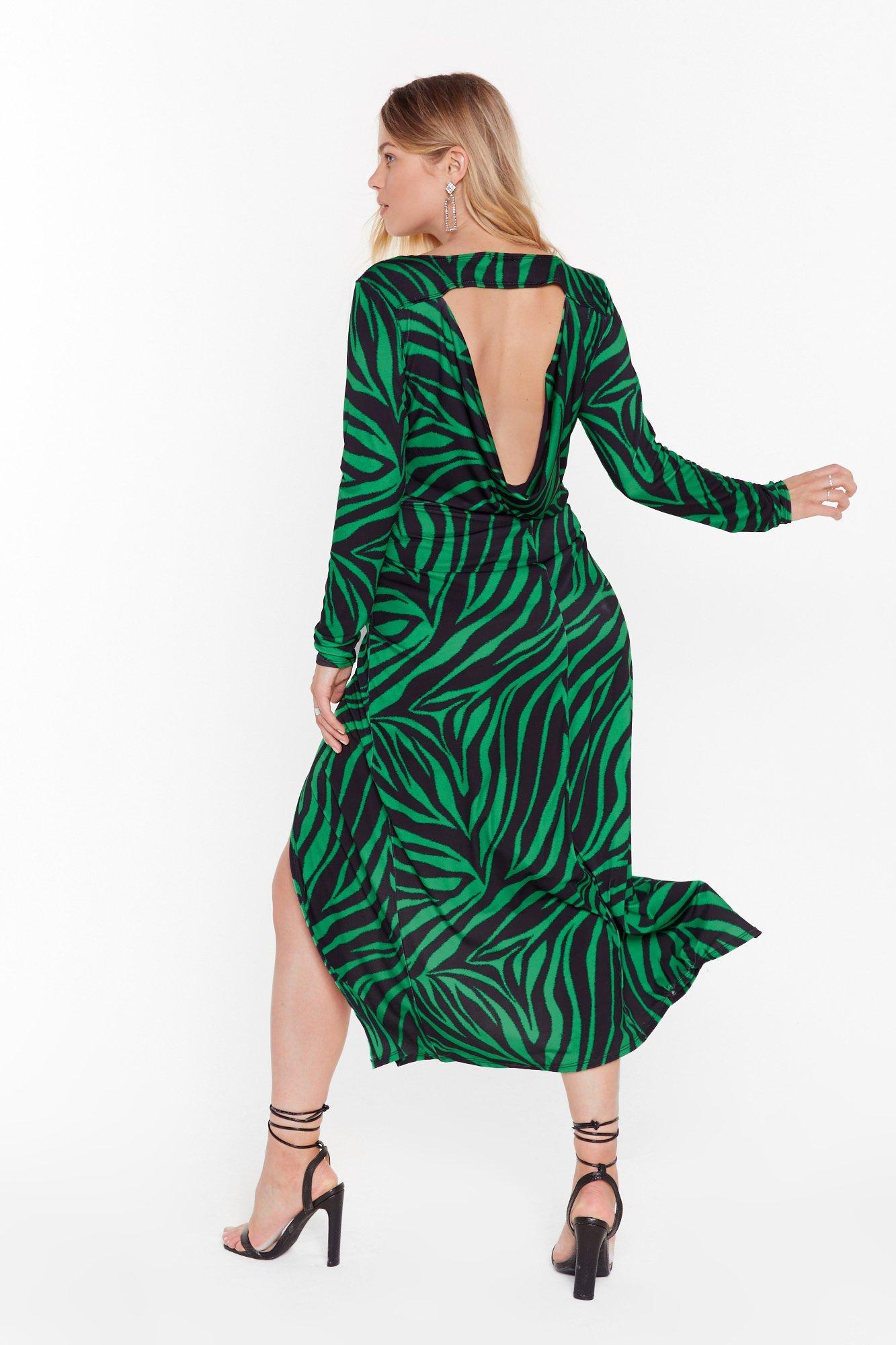 Image of Cowl of the Wild Plus Zebra Midi Dress