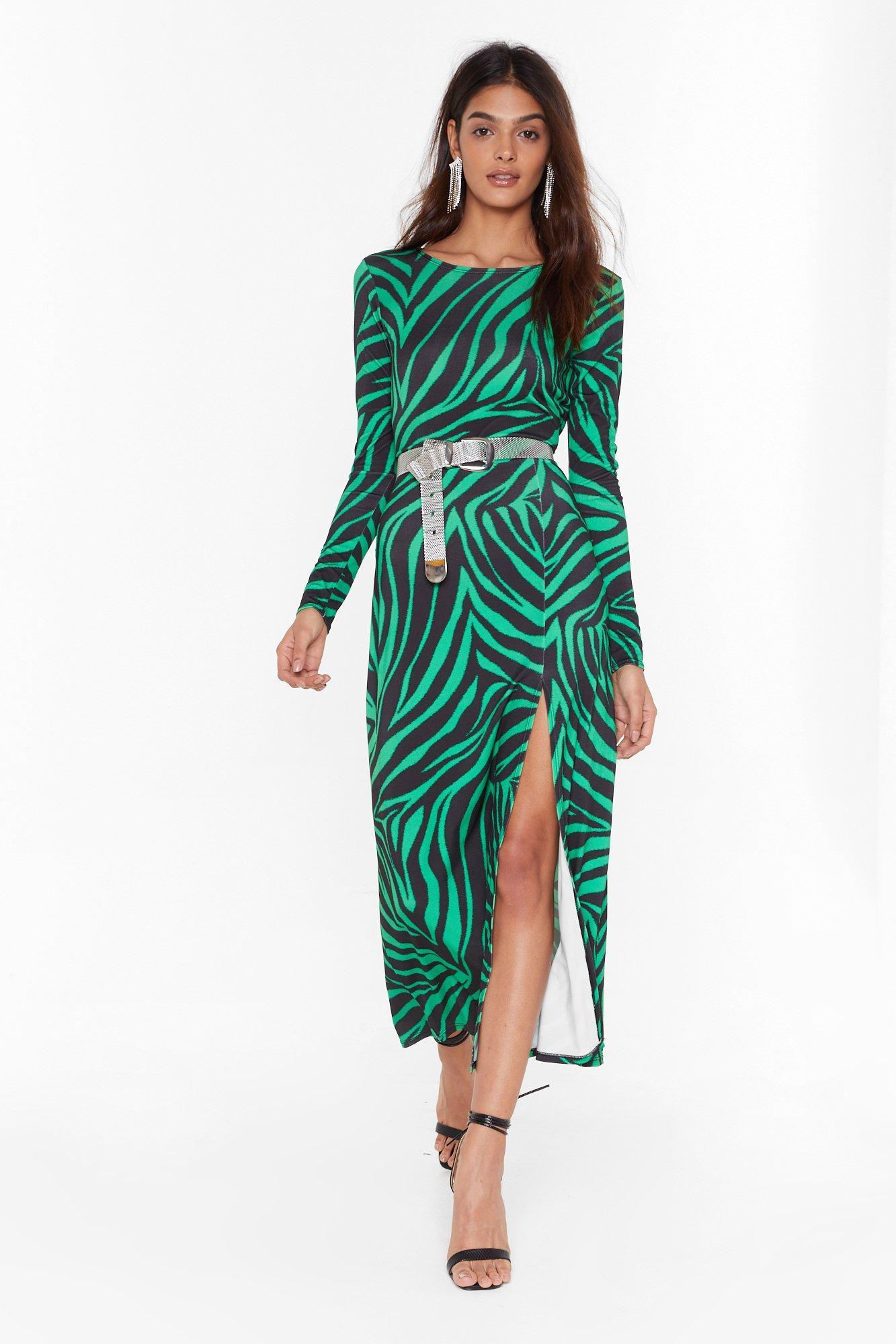 Image of Cowl of the Wild Zebra Midi Dress