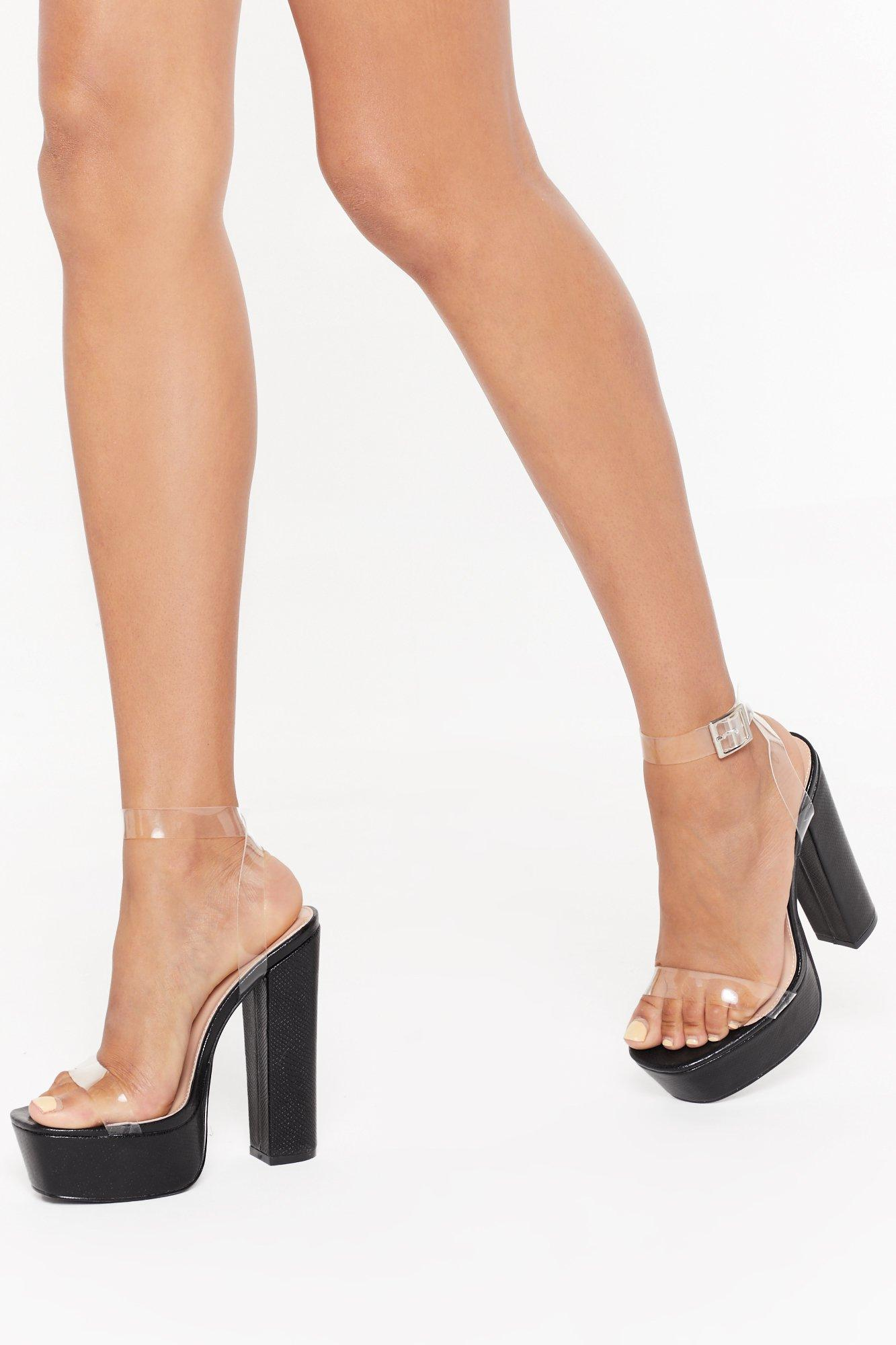 Image of Time to Clear the Air Faux Leather Platform Heels