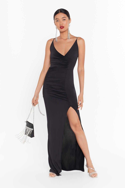Image of If Slit Ain't Broke Slinky Maxi Dress