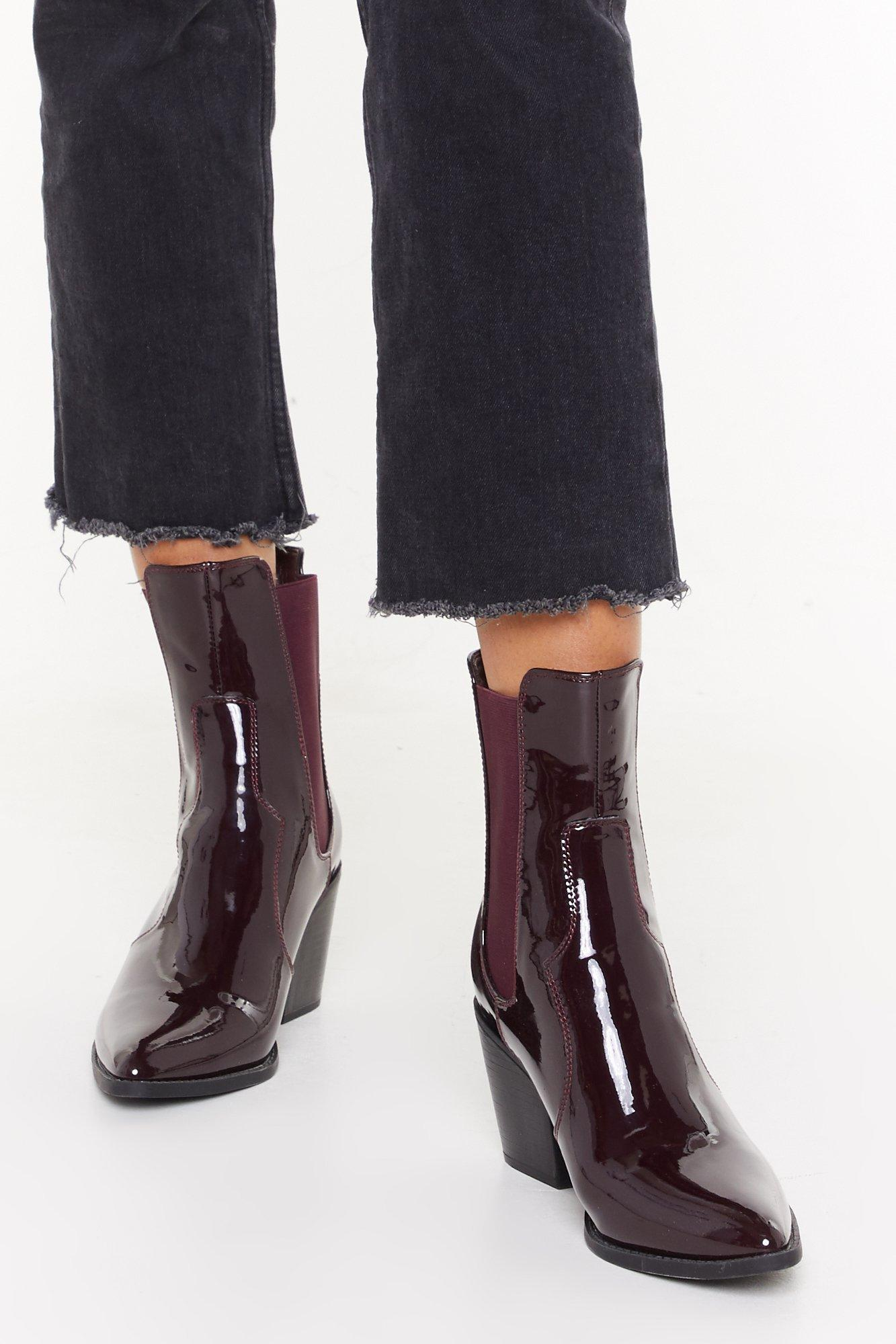 Image of Go Western Patent Faux Leather Boots