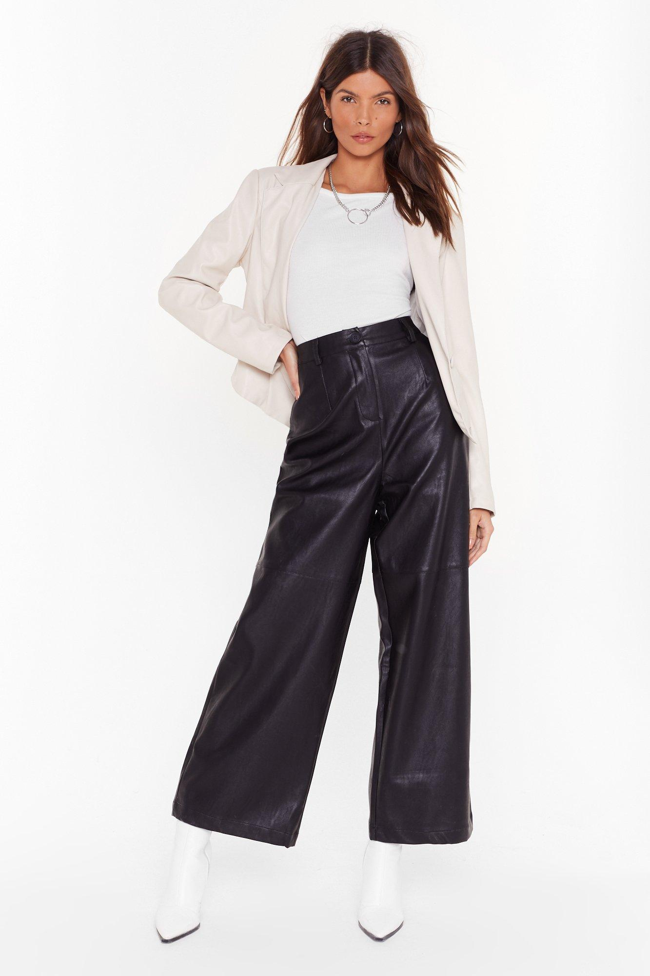 Image of Loving You Faux Leather Wide-Leg Pants