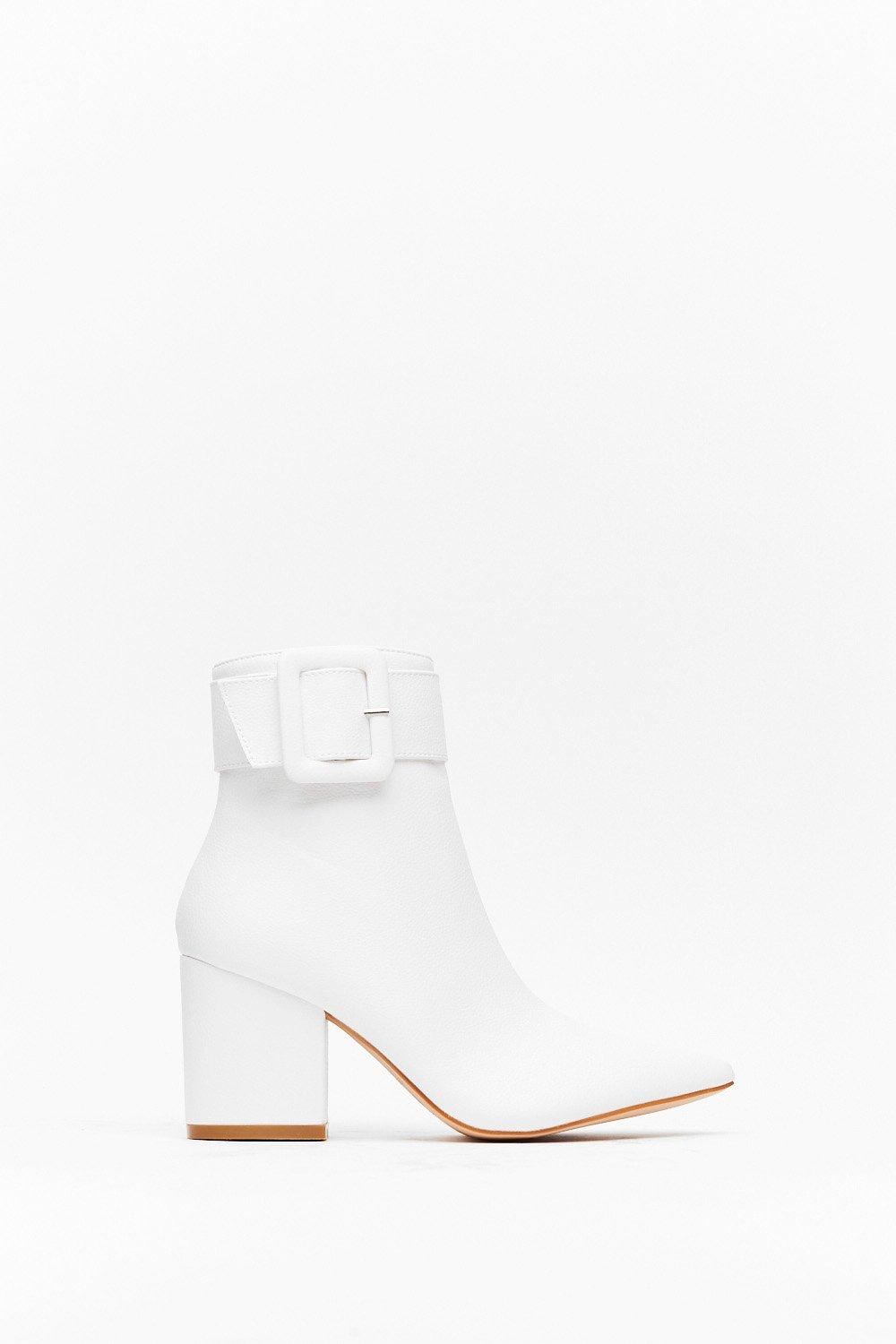 Image of Buckle It Up Faux Leather Pointed Boot