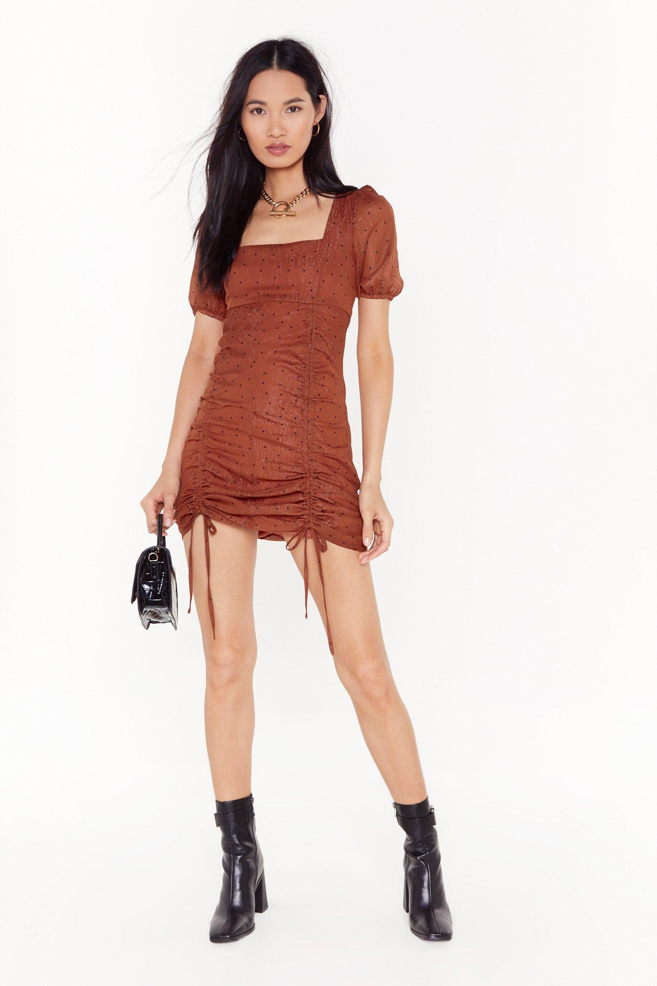Image of Caught Me in It's Spotlight Ruched Mini Dress