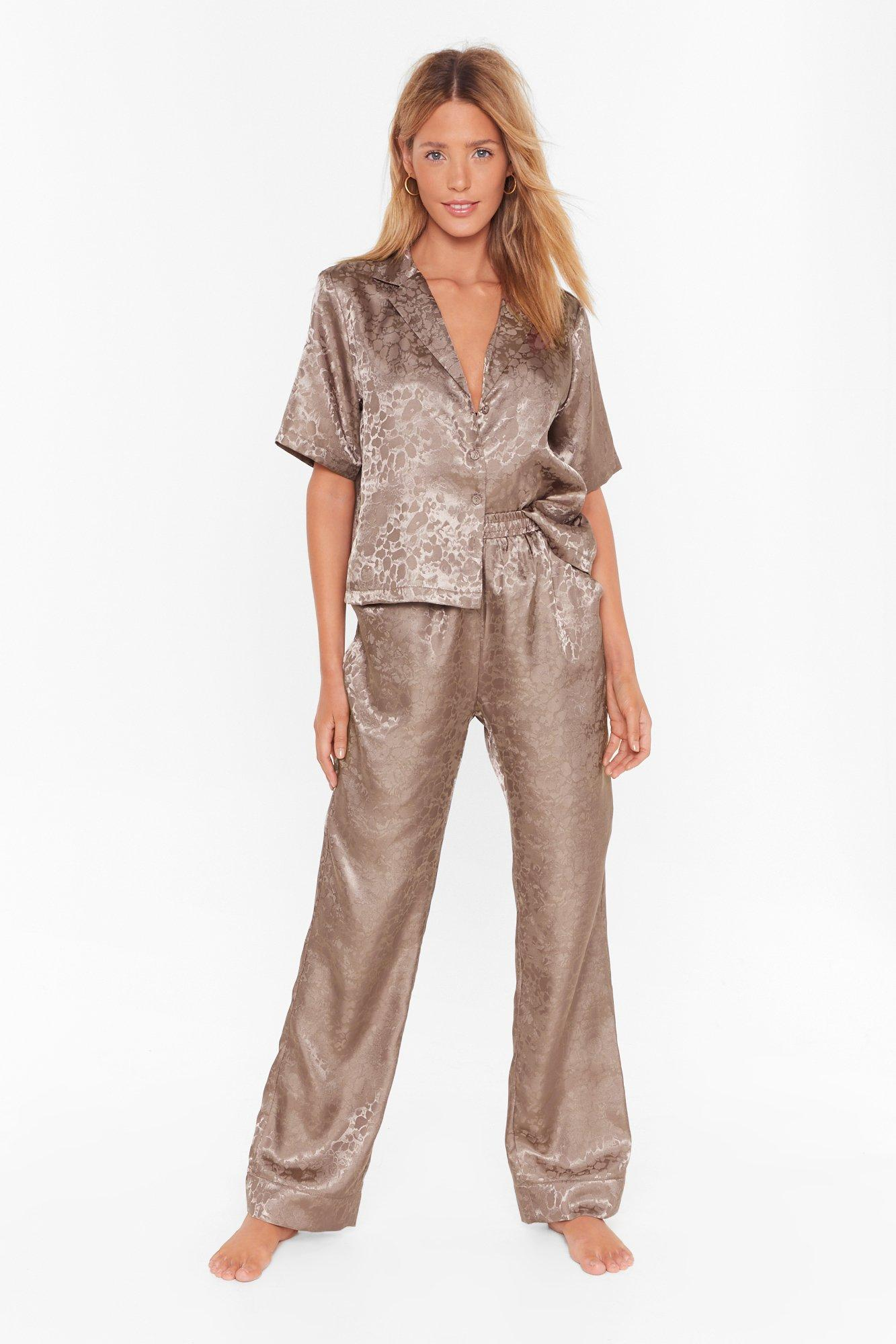 Image of Follow That Dream Satin Pajama Shirt and Pants Set