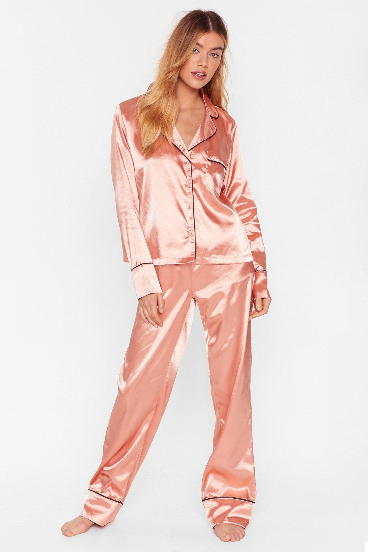 Image of Don't Loose Sleep Satin Shirt and Pants Pajama Set