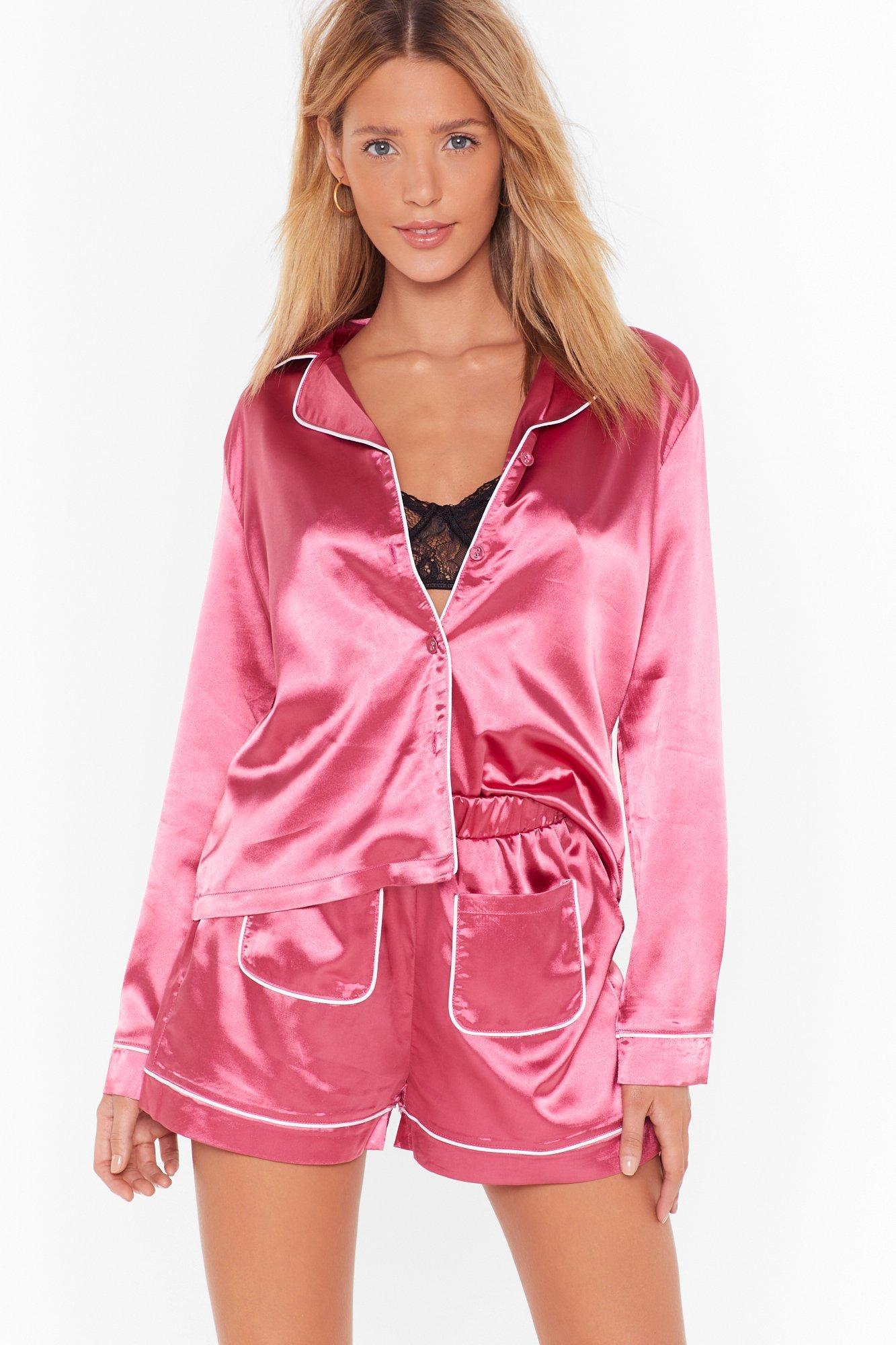 Image of Goodnight Sleek Tight Satin Pajama Shorts Set