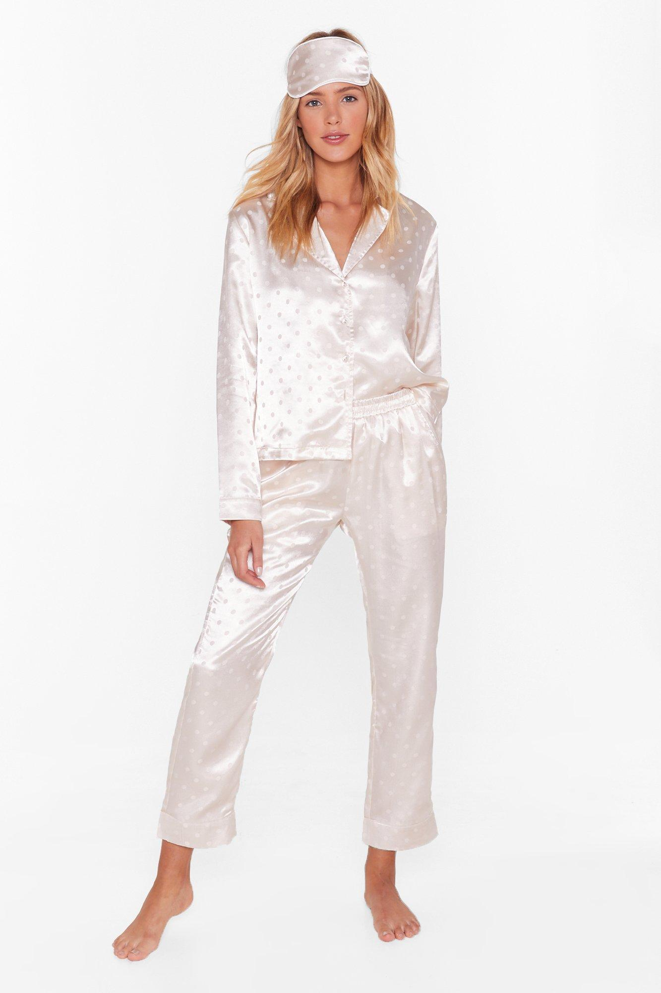 Image of Dot Nights Satin 3-Pc Pajama Set