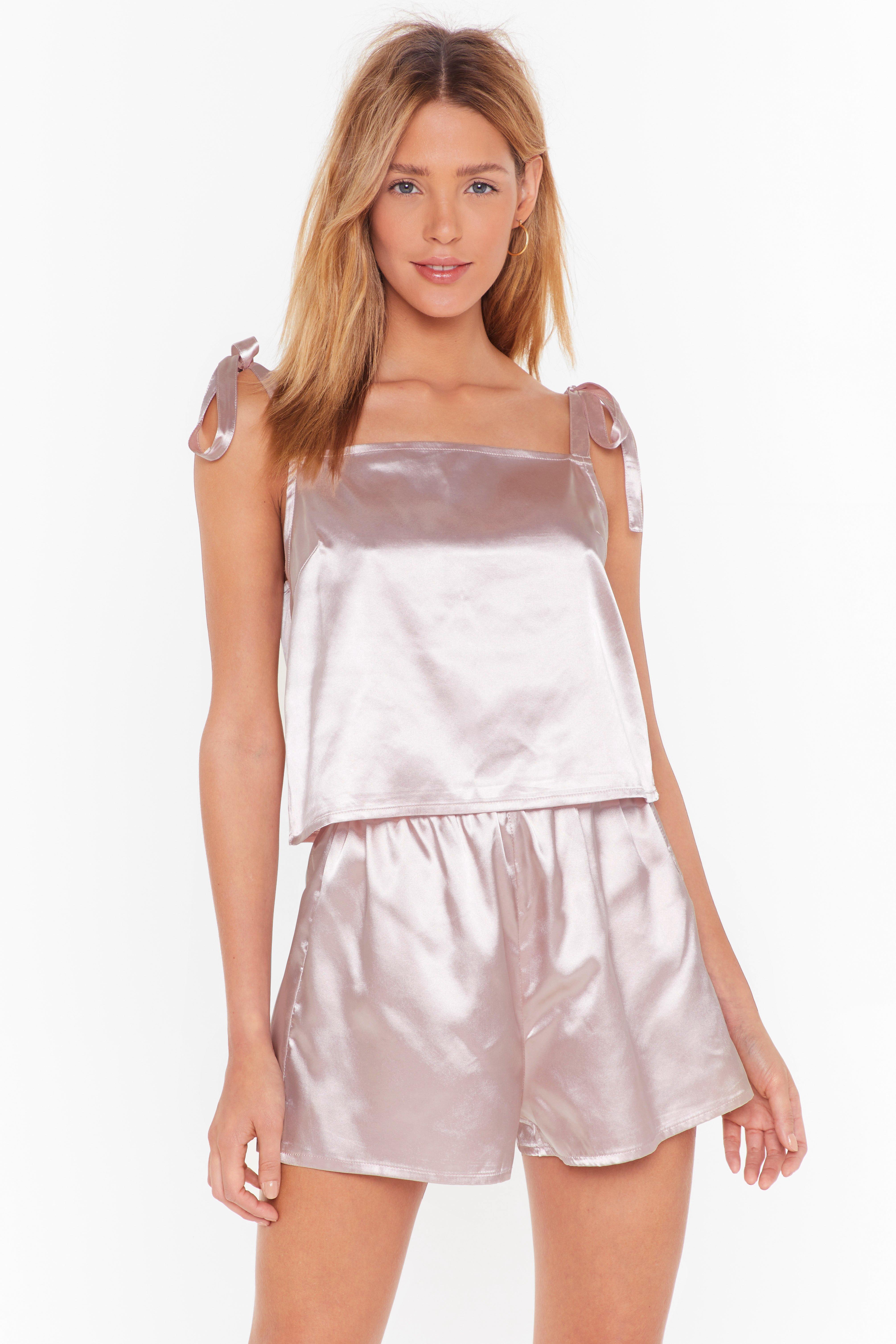 Image of Sleek Dreams Satin Pajama Shorts Set